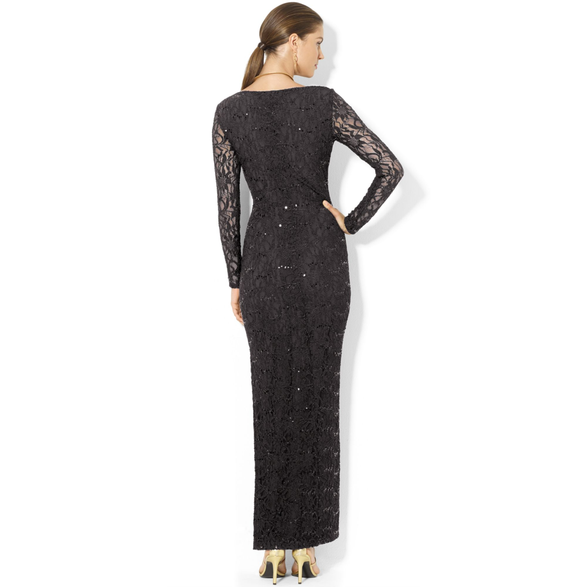 1190b41830f2c Lauren by Ralph Lauren Longsleeve Sequined Lace Gown in Black - Lyst