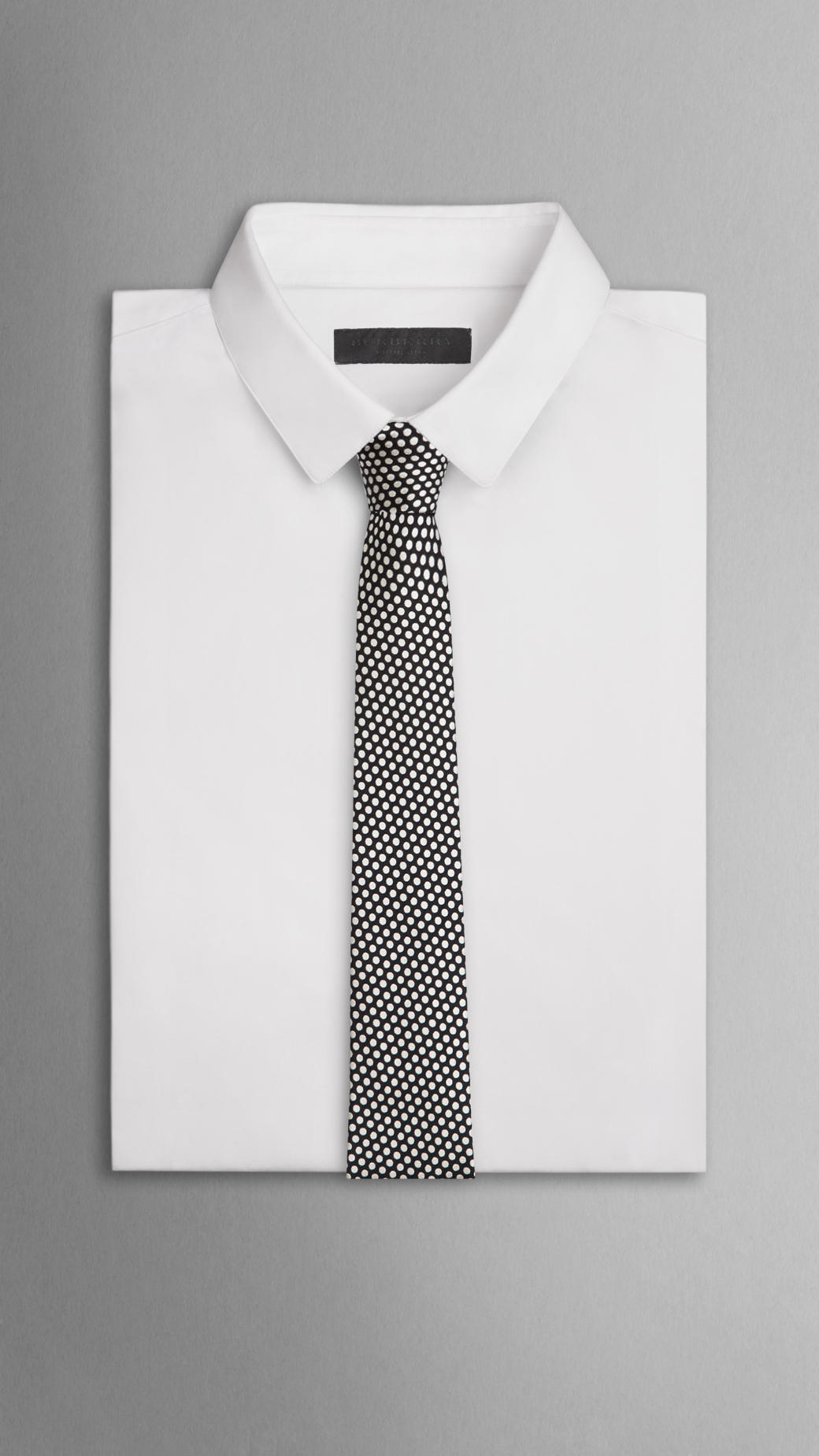 203e929f1 ... order lyst burberry dotted silk jacquard skinny tie in black for men  c9924 ec0ae