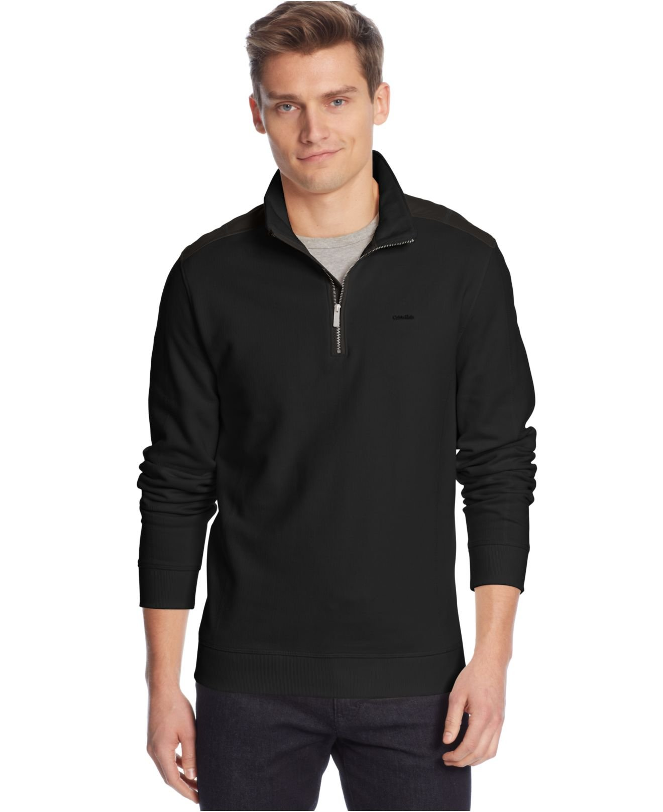calvin klein quarter zip solid pique fleece sweater in black for men lyst. Black Bedroom Furniture Sets. Home Design Ideas
