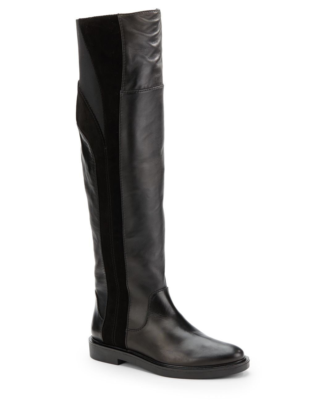 calvin klein dax leather suede flat boots in black lyst
