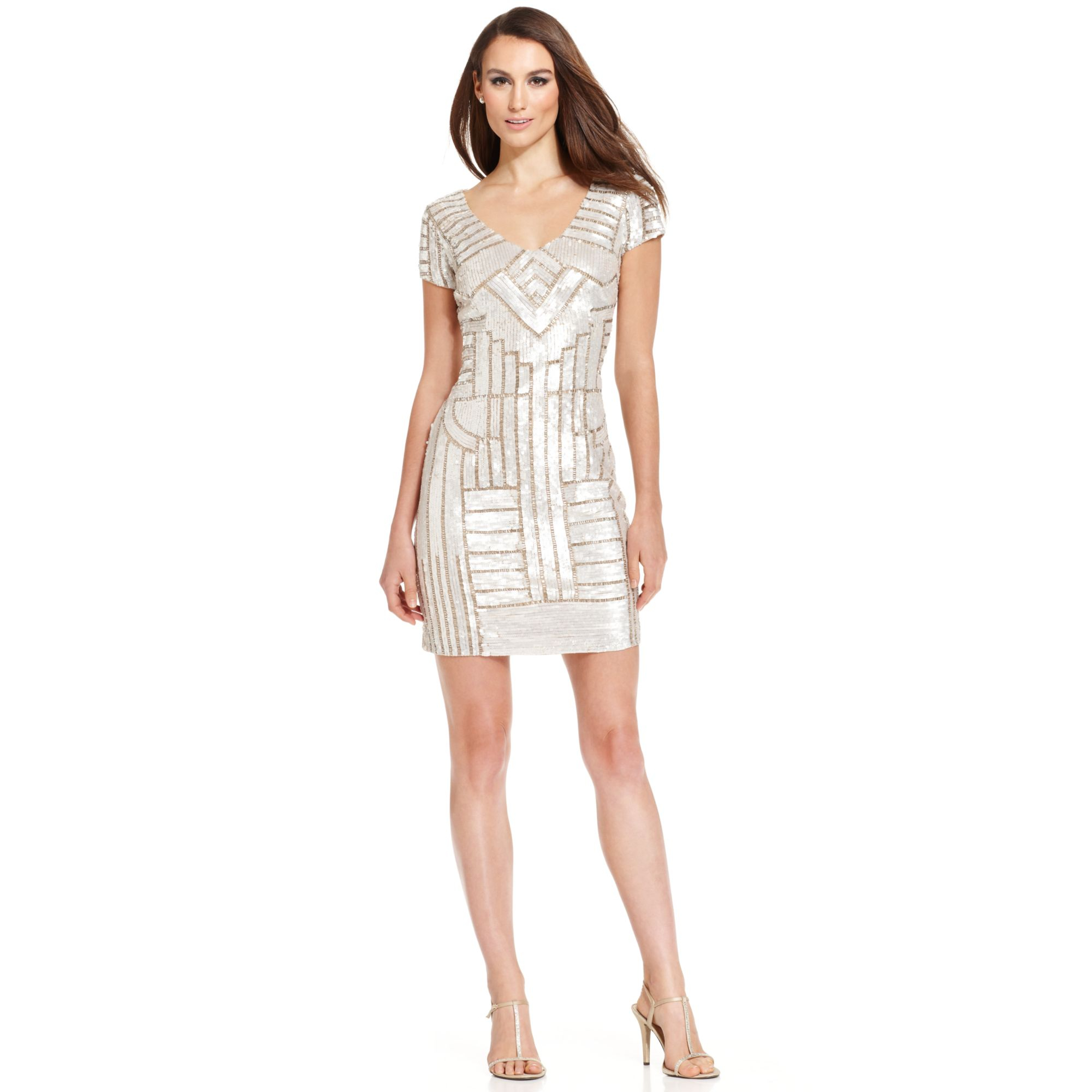 Adrianna papell Cap-sleeve Embellished Sheath in Natural   Lyst