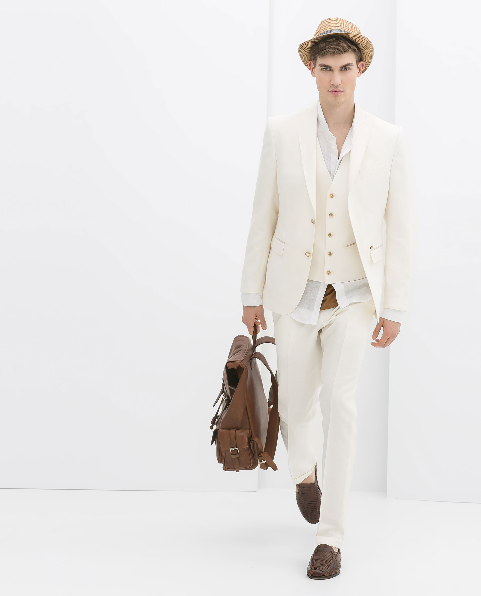 Zara Linen Suit Trousers with White Edging in Natural for Men | Lyst