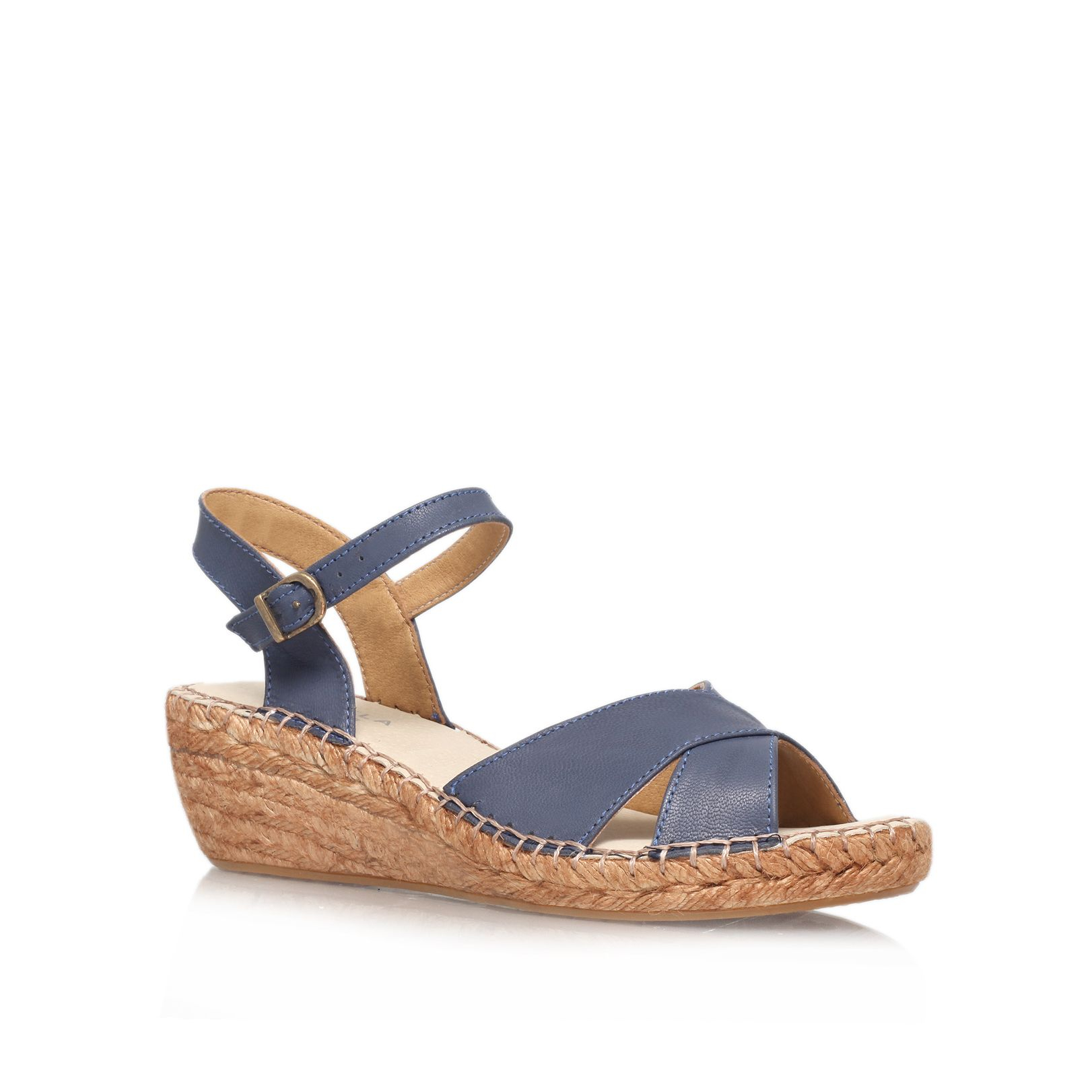 carvela kurt geiger kandy mid heel wedge sandals in blue