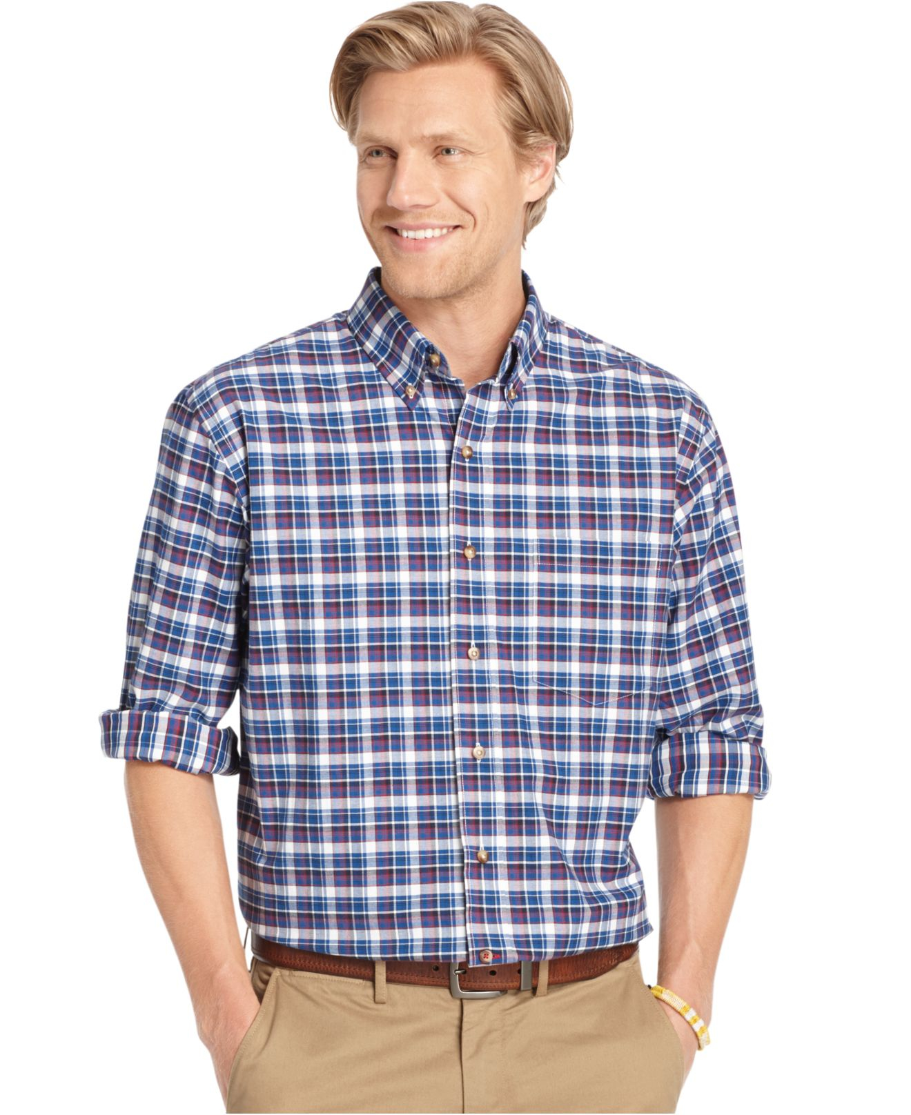 Lyst izod long sleeve plaid button down shirt in blue for Izod button down shirts