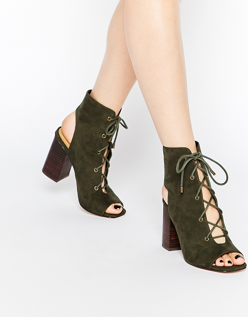 002b2c3db1 ASOS Edgecombe Lace Up Heel Boots in Green - Lyst