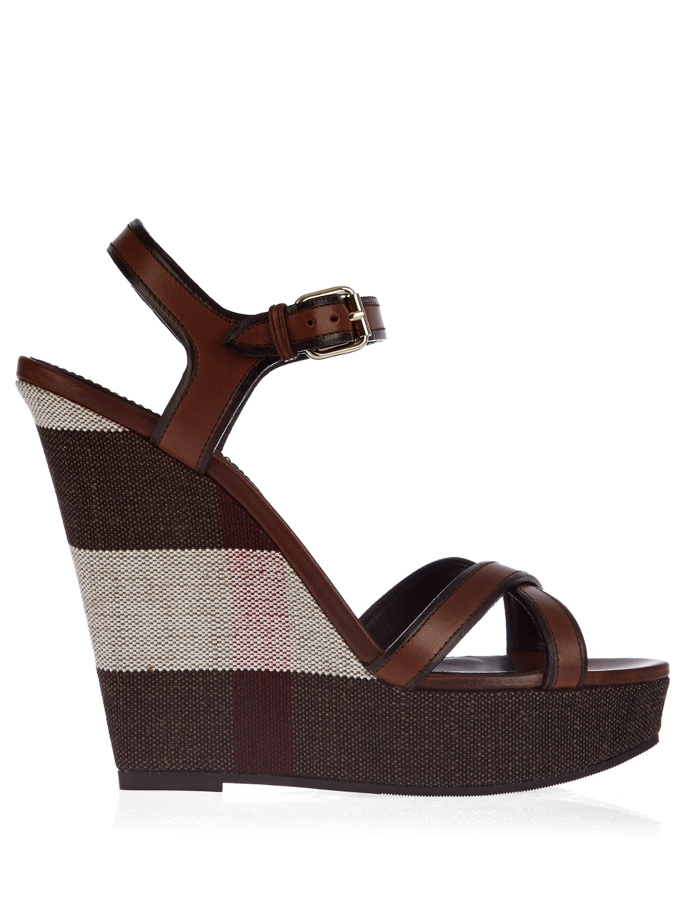 burberry whelan cross leather wedge sandals in brown