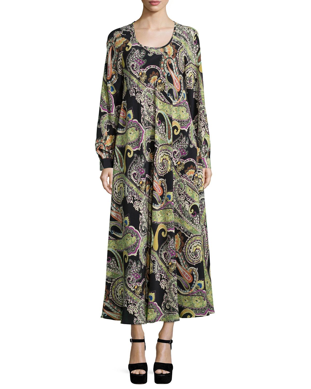 Long sleeve paisley print dress