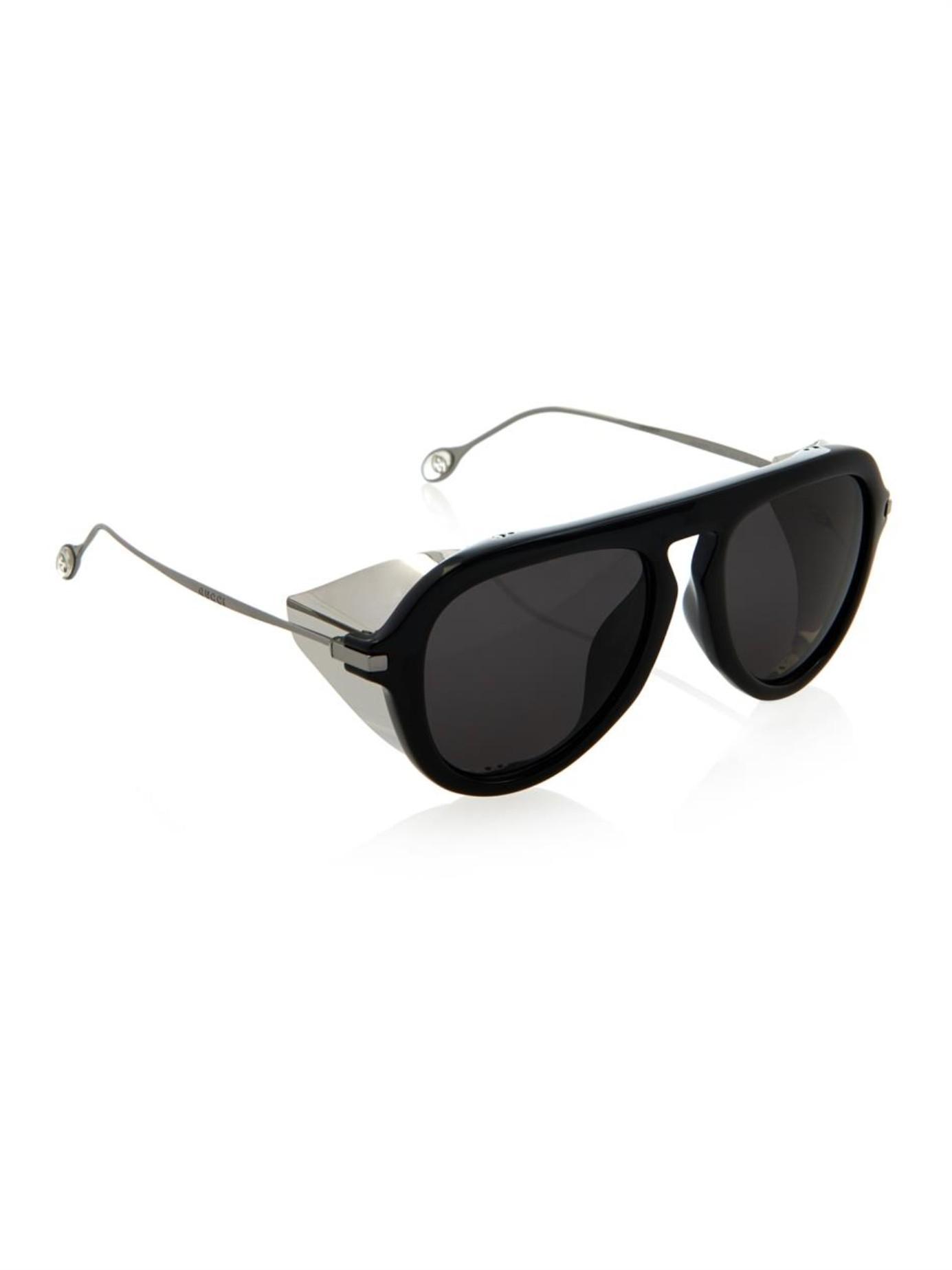 67d6e95b5 Gucci Metal-Blinker Aviator-Style Sunglasses in Black - Lyst
