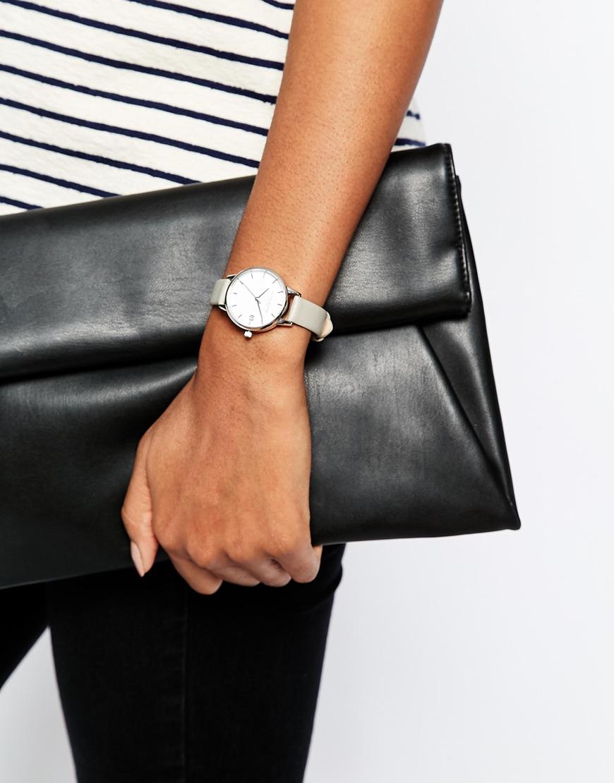 543d6a690bd Lyst - Olivia Burton Livia Burton Dandy Grey Midi Dial Leather Watch ...