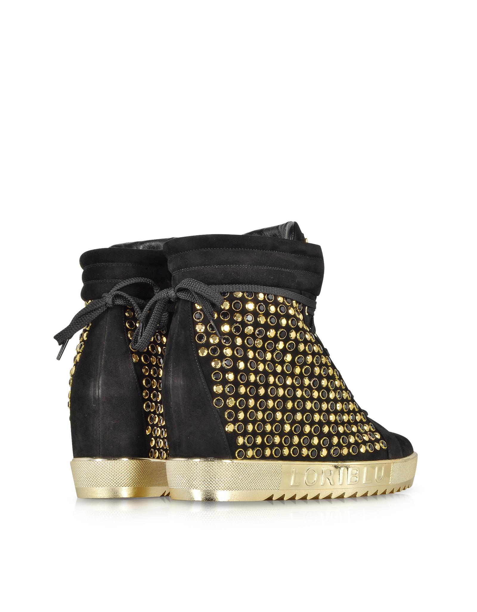 Black Suede Shoes Side Zip Wedge Heel