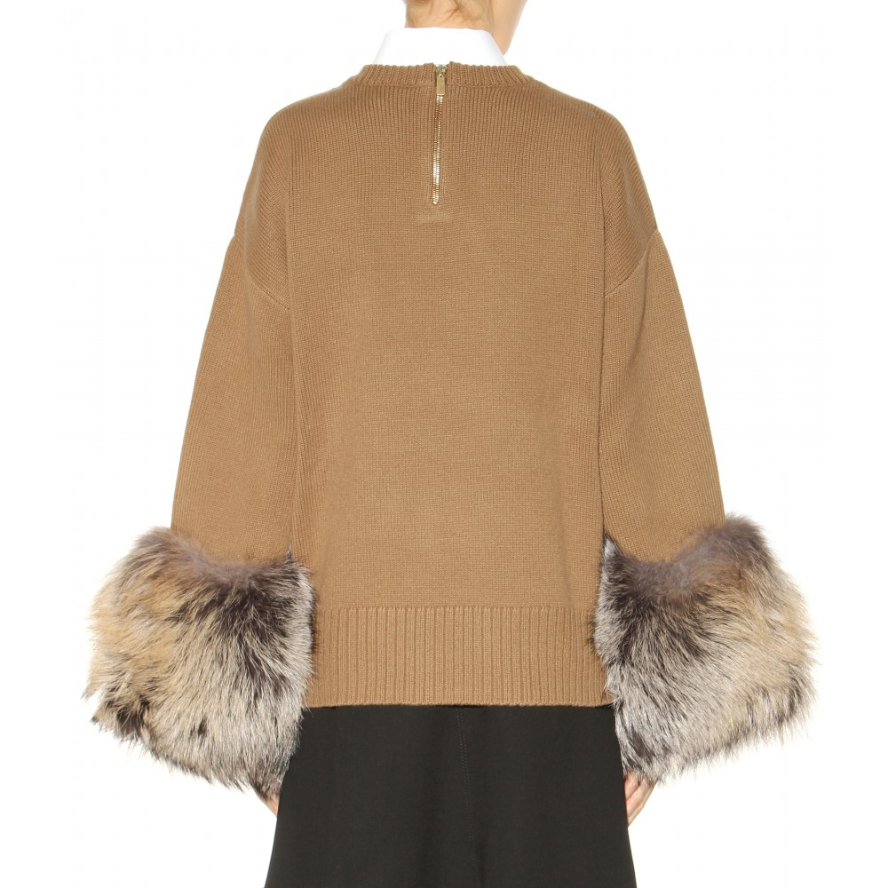 Michael kors Cashmere And Wool-blend Fur-trimmed Sweater in Brown ...