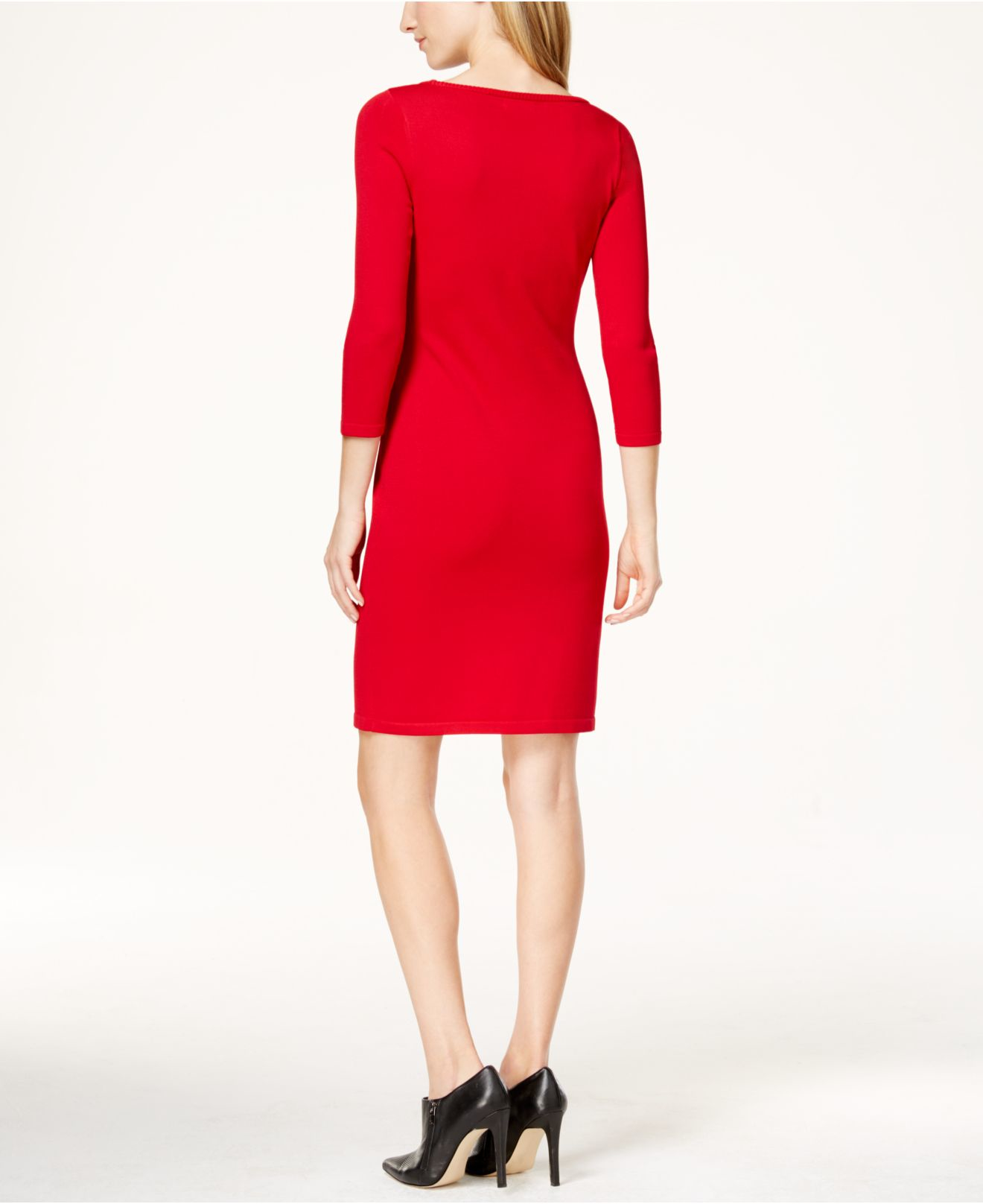 Calvin klein Embellished Sweater Dress in Red | Lyst