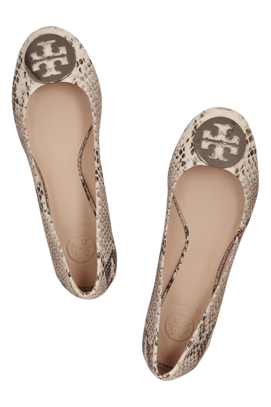 acbd178781b91 ... get lyst tory burch reva snake effect leather ballet flats in natural  f1633 12879