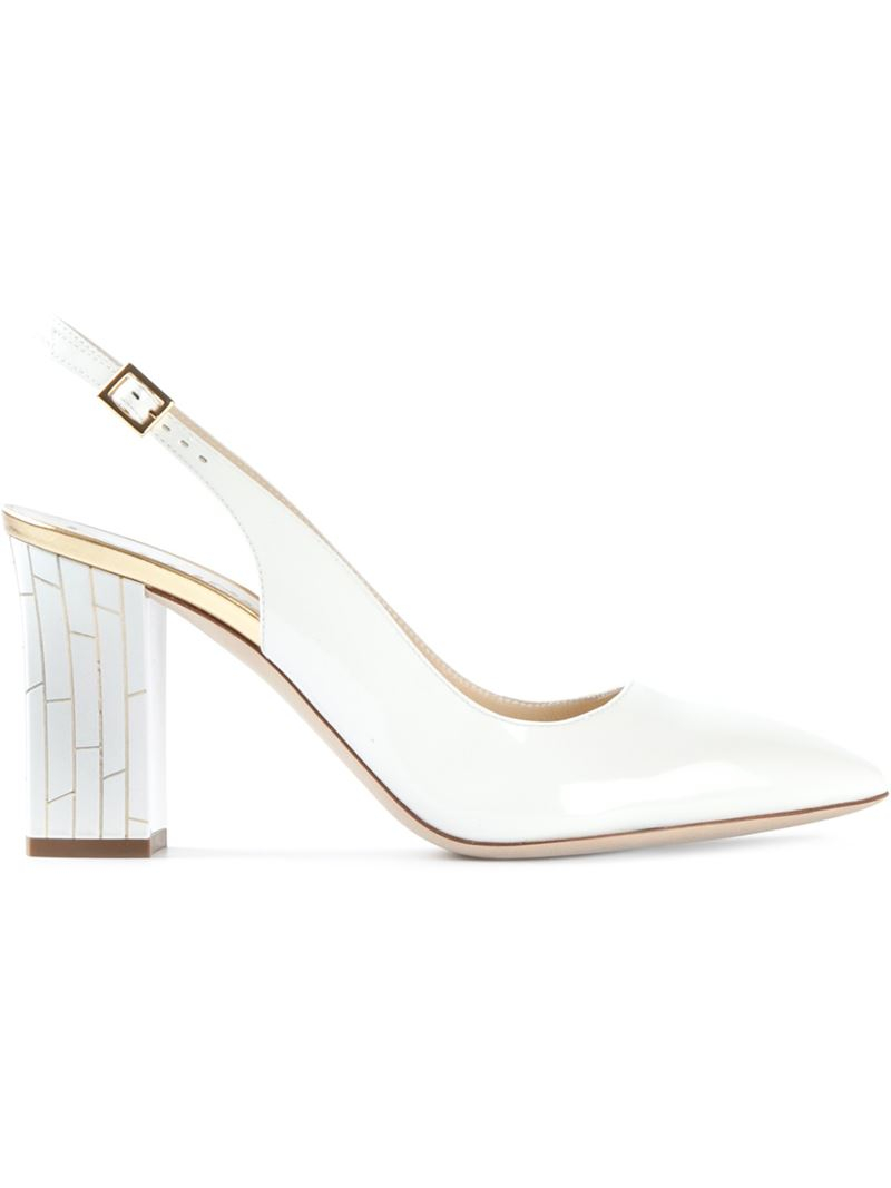 Pollini Block Heel Pumps in White | Lyst