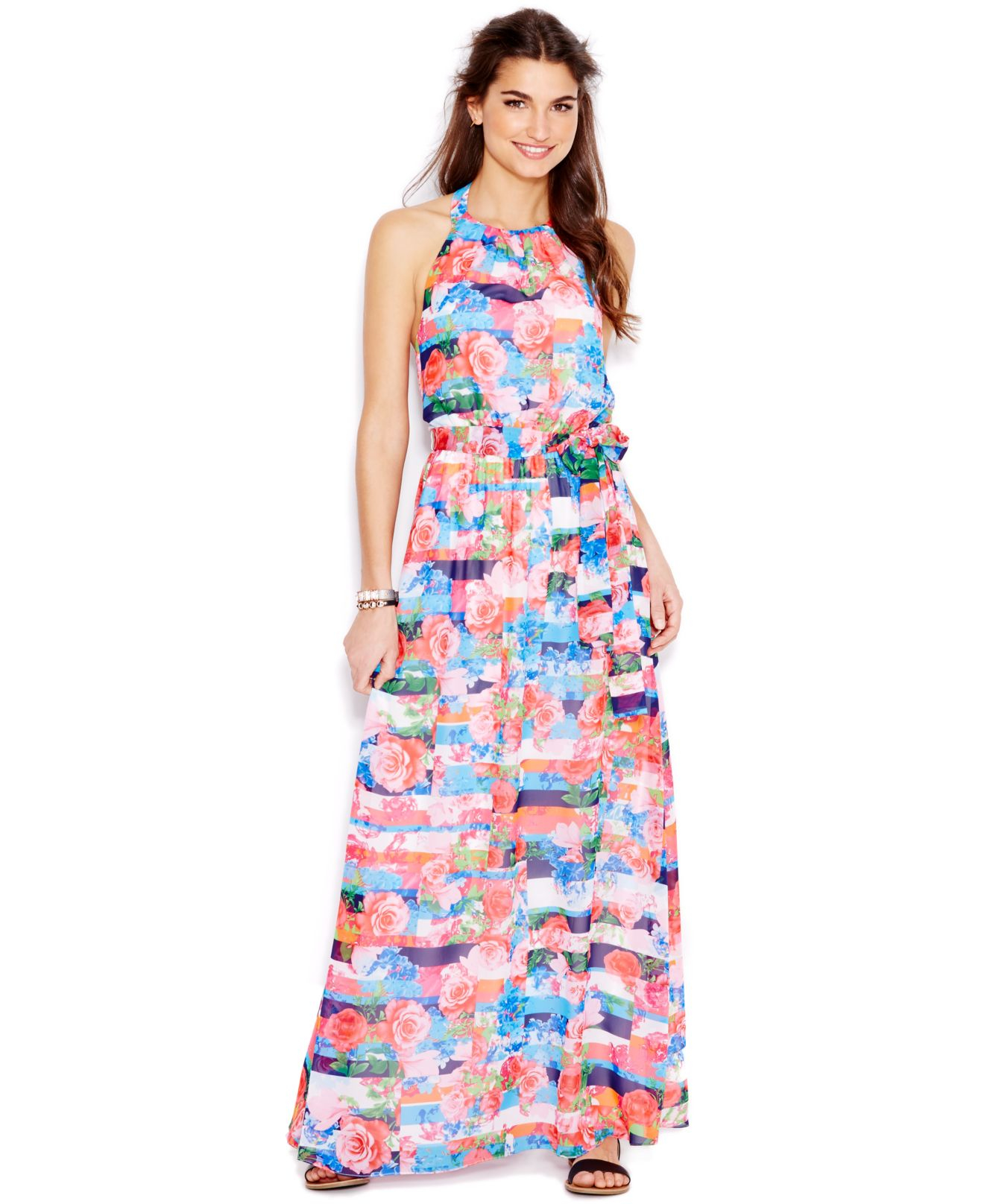 Jessica simpson Rose-print Halter Maxi Dress | Lyst