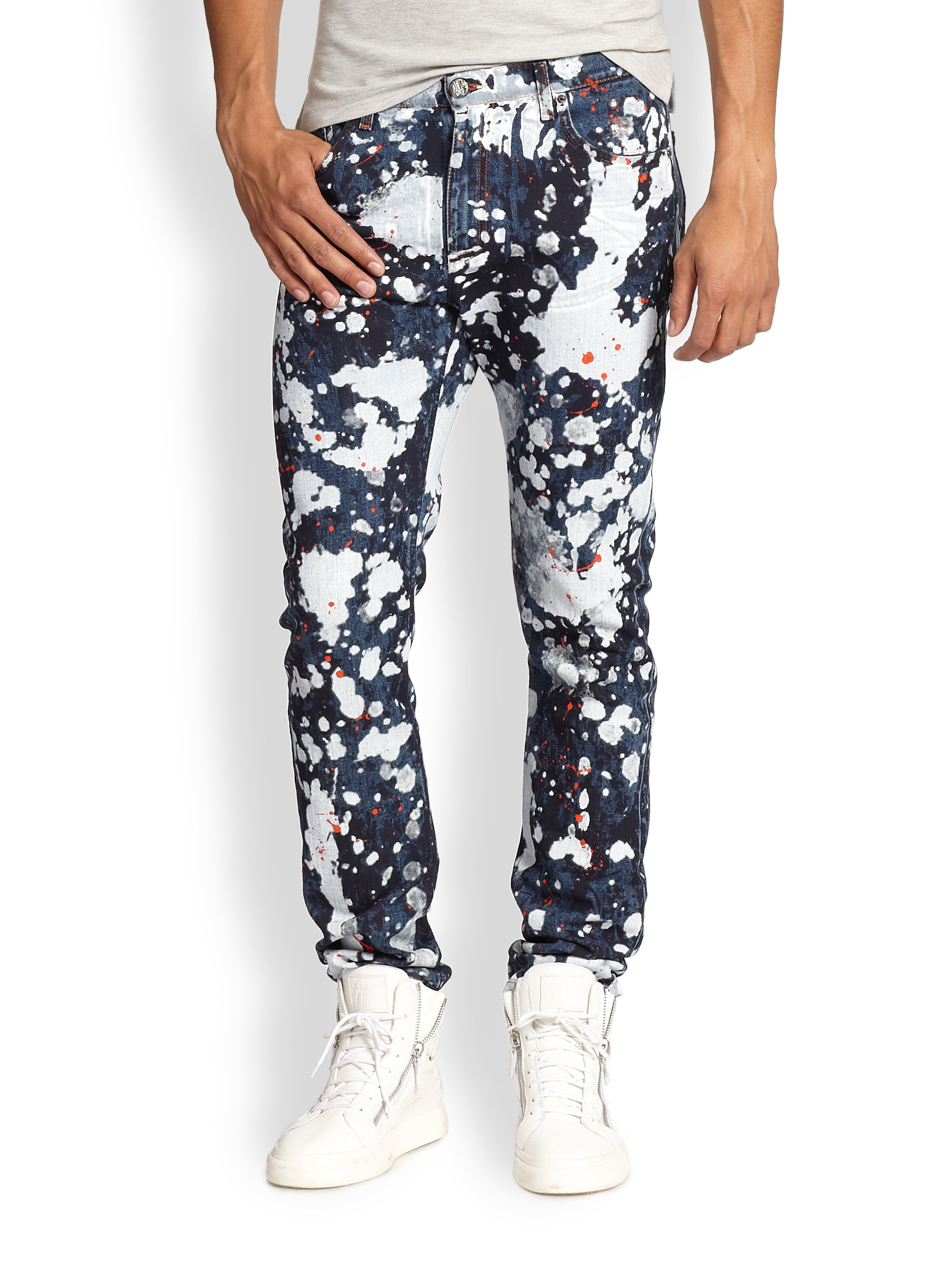 lyst versace jeans paint splatter skinny jeans for men