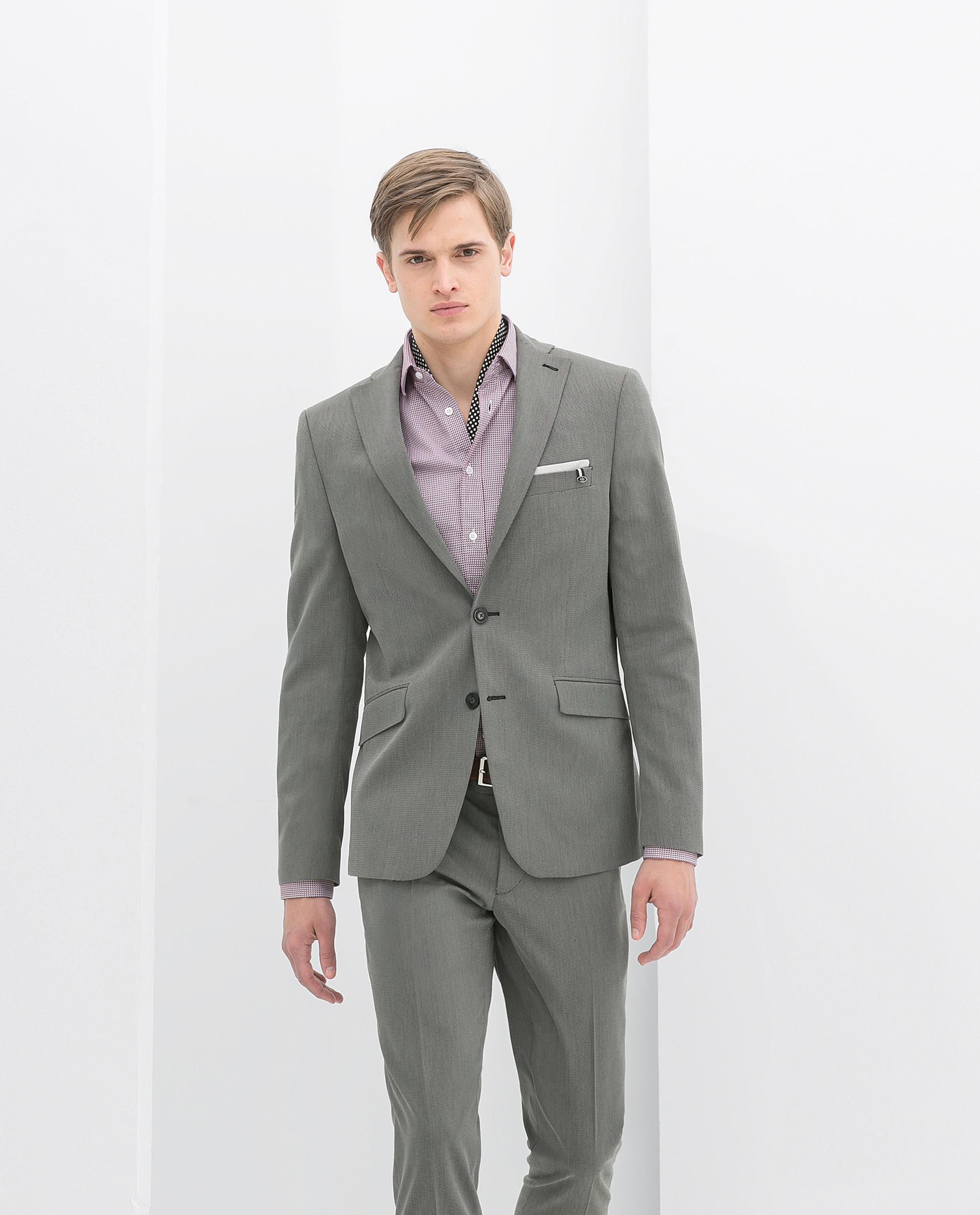 Zara Grey Puntille Suit Blazer in Gray for Men | Lyst