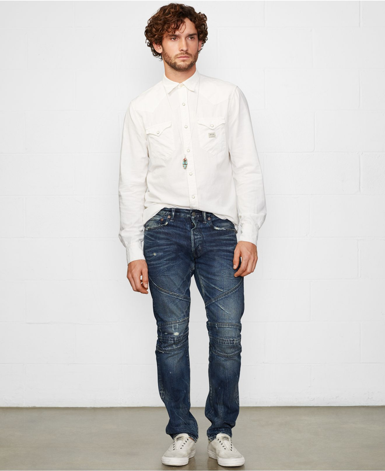2408551843 Lyst - Denim   Supply Ralph Lauren Chambray Western Shirt in Natural ...