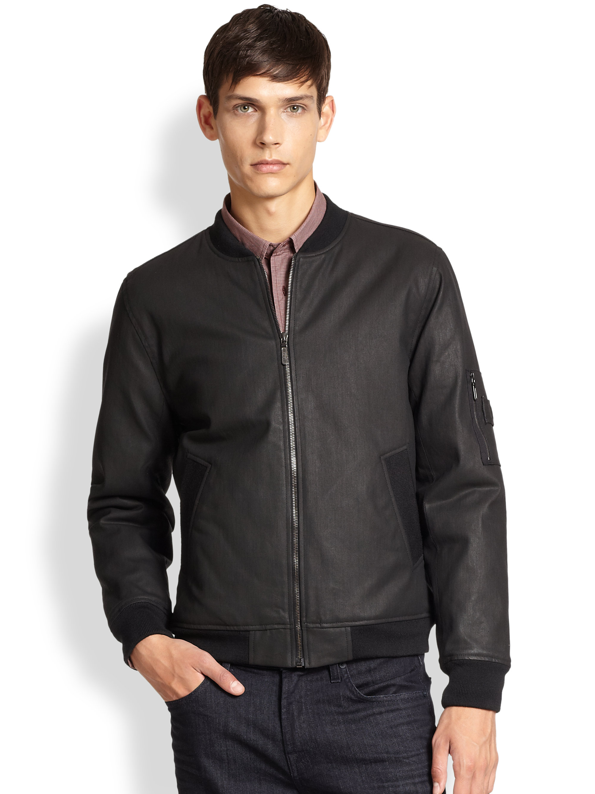 7 for all mankind Bomber Jacket in Black for Men | Lyst