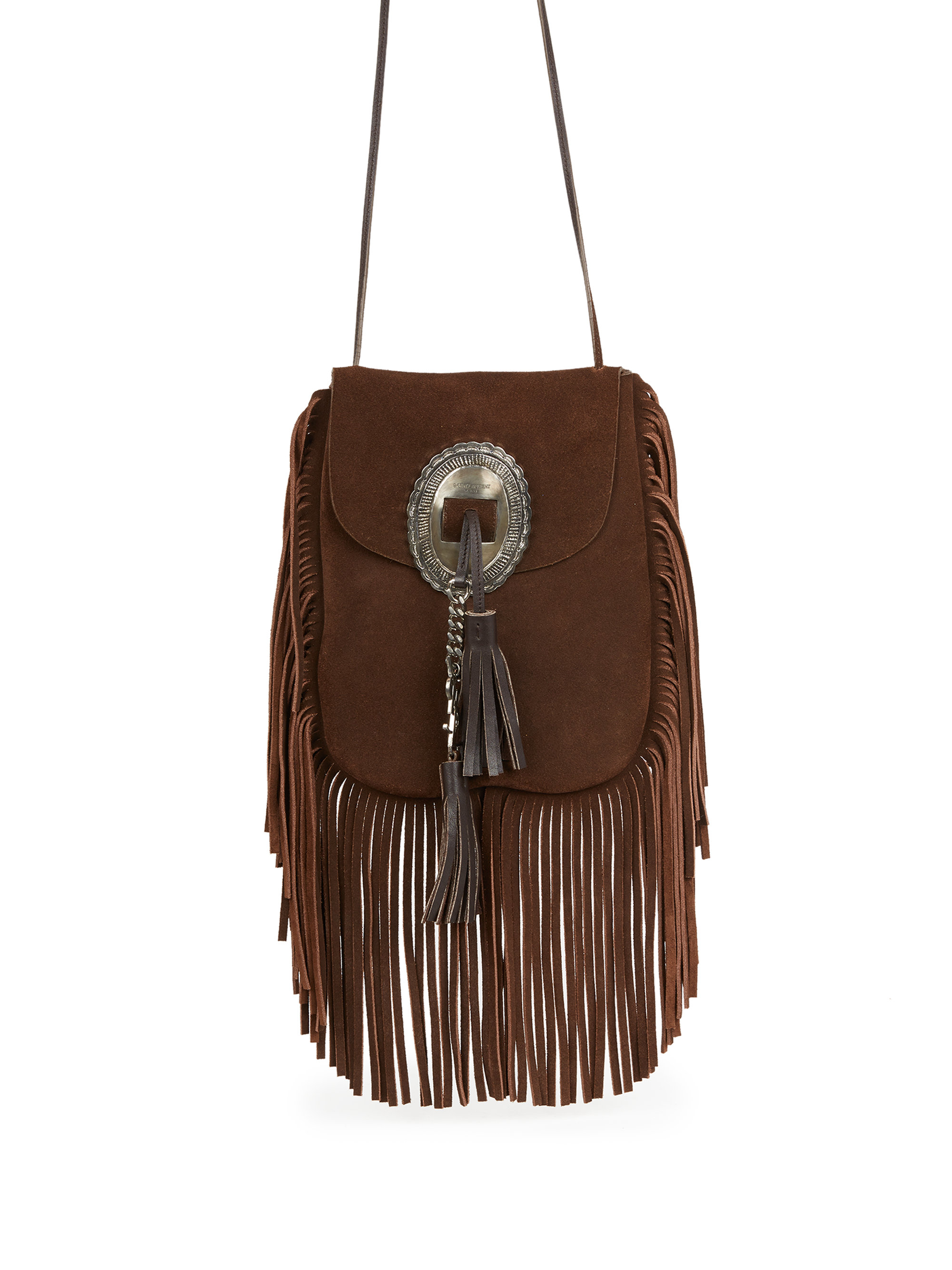 957f1f14b8 small monogram saint laurent fringed crossbody bag in brown suede