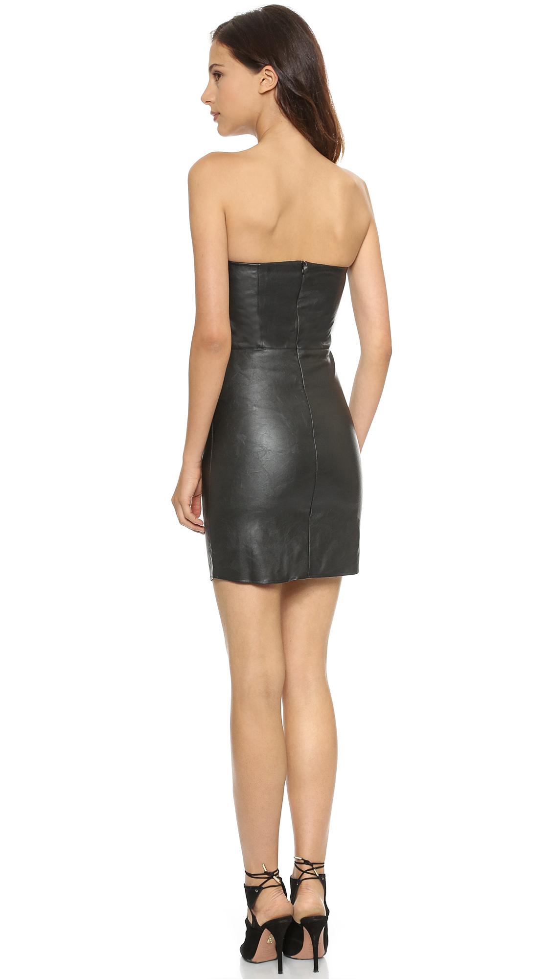 Myne Strapless Faux Leather Dress in Black | Lyst