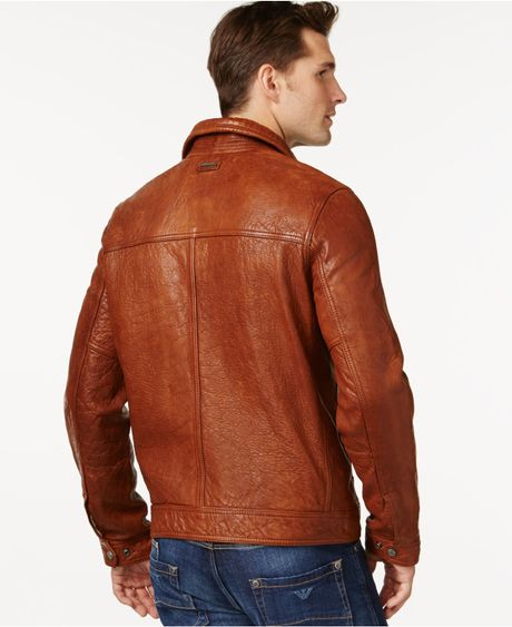 Andrew Marc Exeter Leather Jacket In Brown For Men Cognac