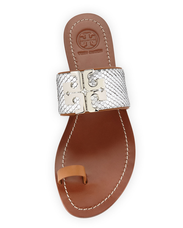 ec6981cae Lyst Tory Burch Lowell 2 Snake Embossed Sandals In Metallic