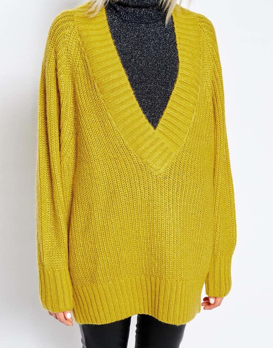 Monki Oversized Deep V-neck Jumper in Yellow | Lyst