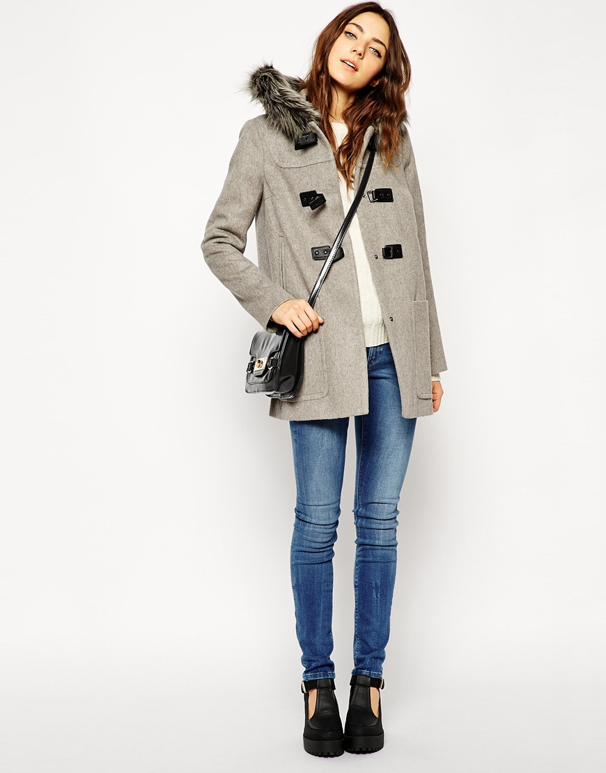 Asos Premium Duffle Coat With Faux Fur Hood in Brown | Lyst