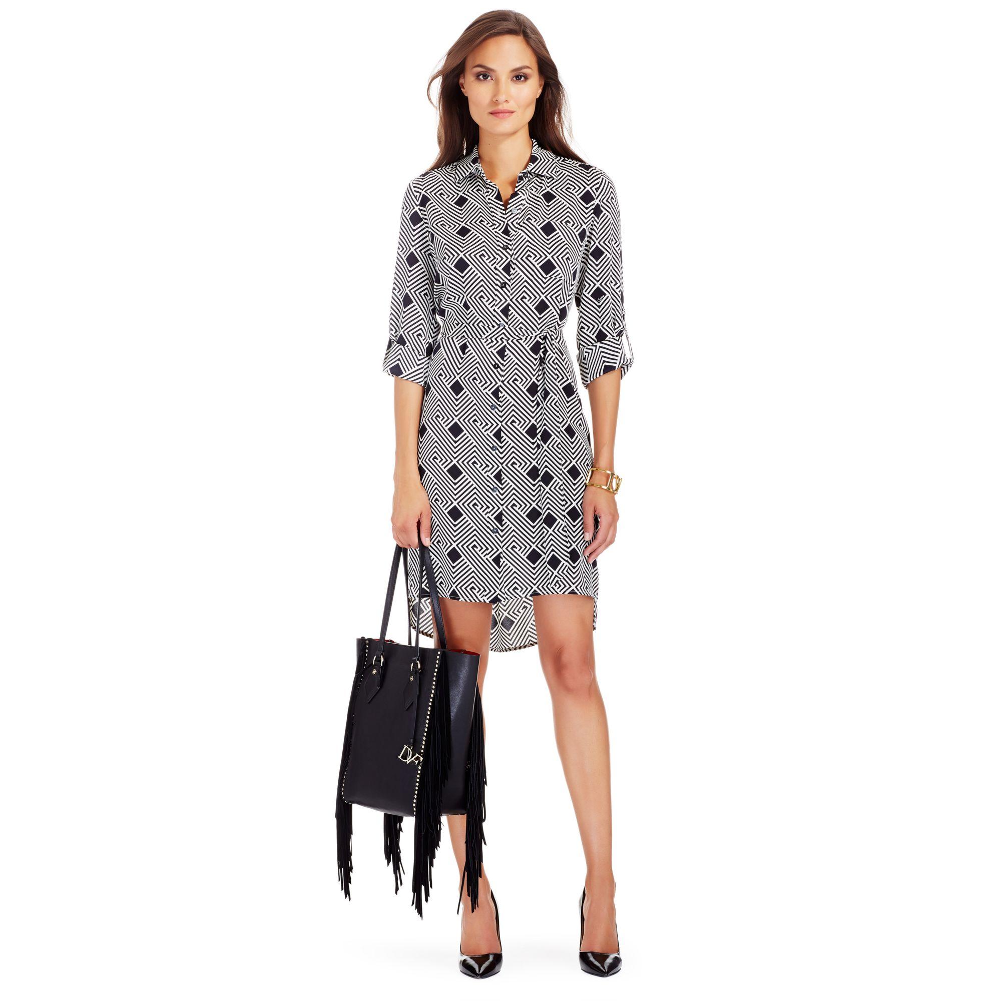 Lyst diane von furstenberg prita silk shirt dress in gray for Diane von furstenberg shirt