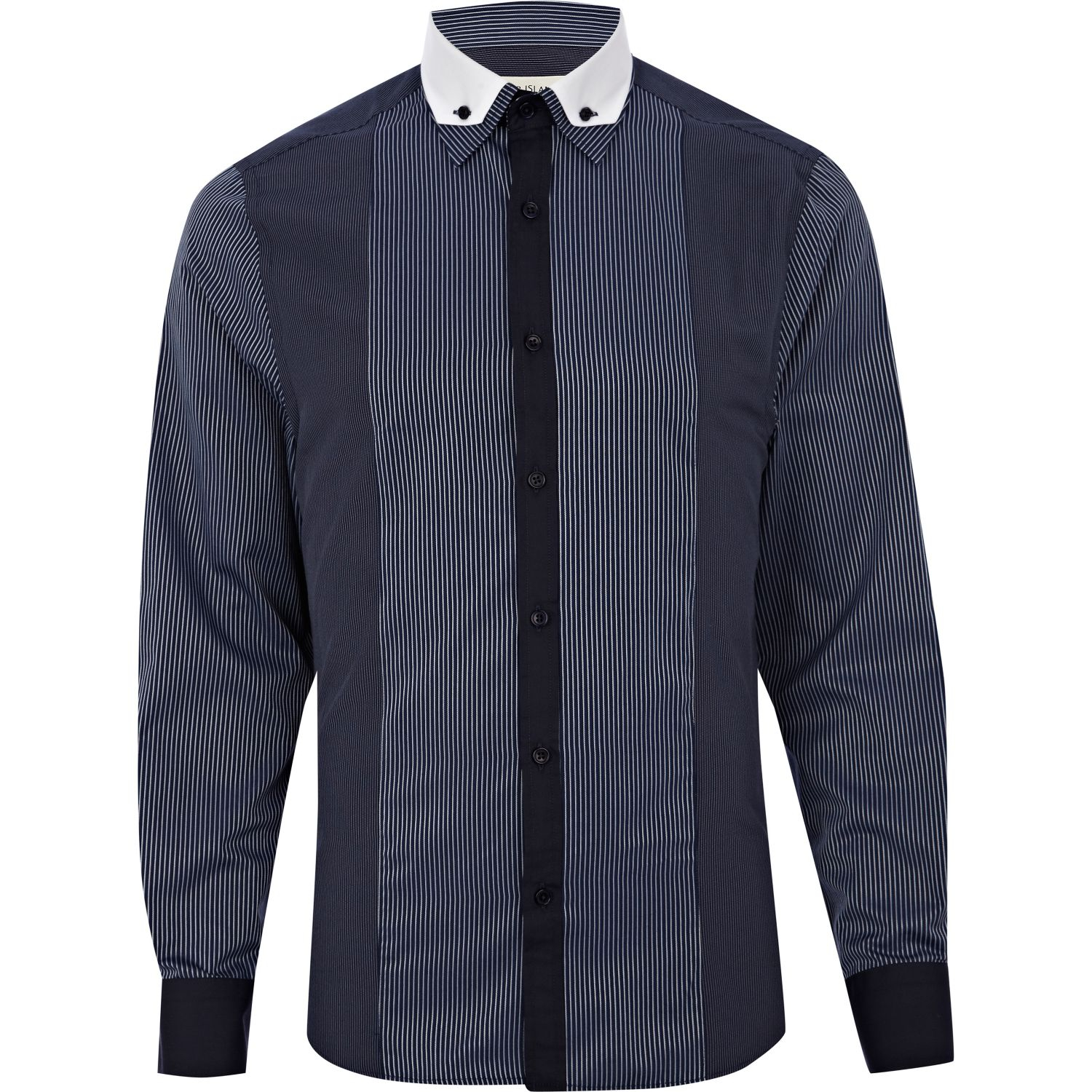 River Island Navy Stripe Panelled Long Sleeve Shirt In