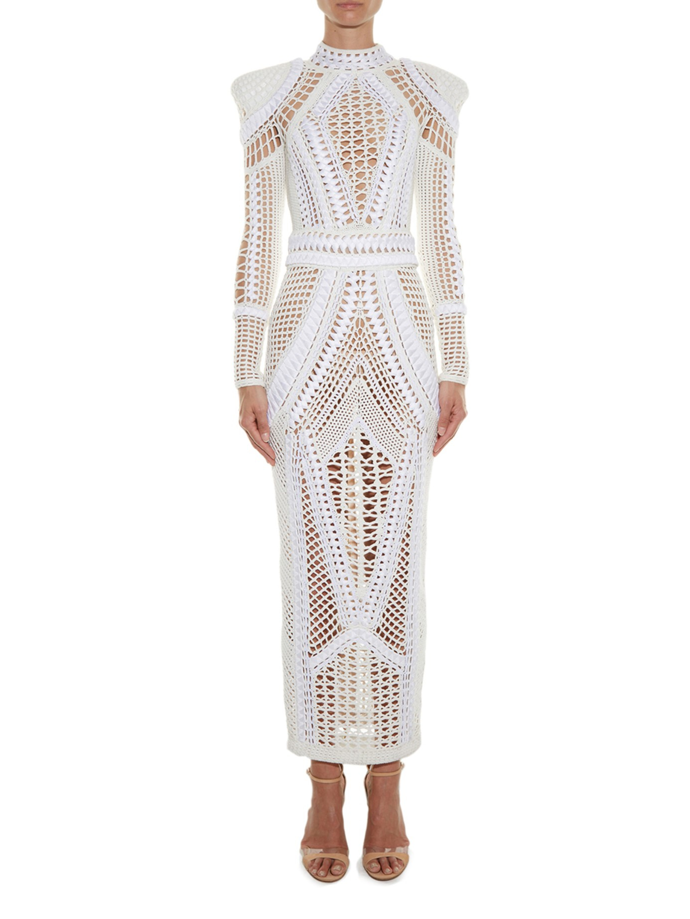Outlet Pay With Paypal Best Place Online Balmain long crochet dress 6GT1ei