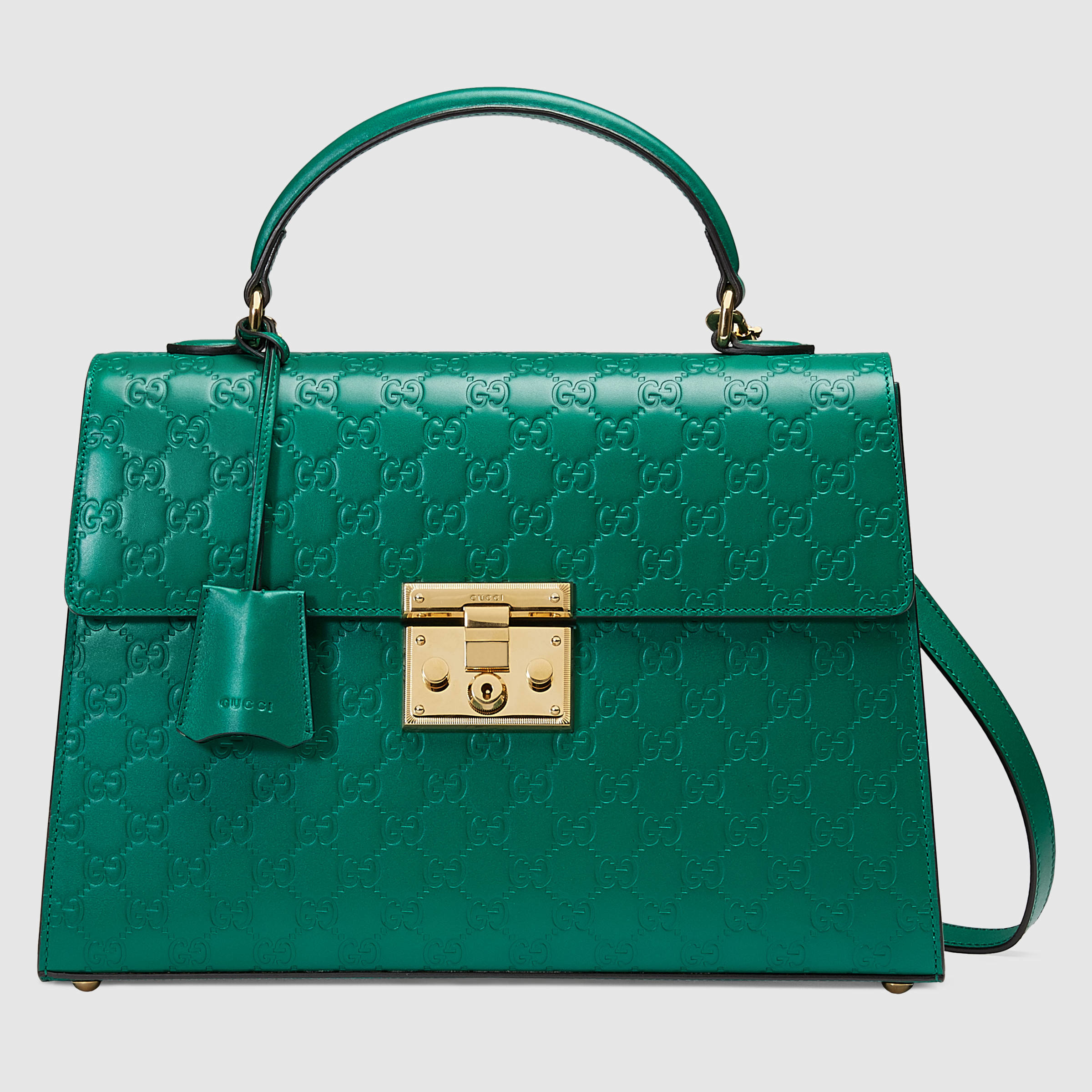 Lyst Gucci Padlock Signature Top Handle Leather Bag In Green