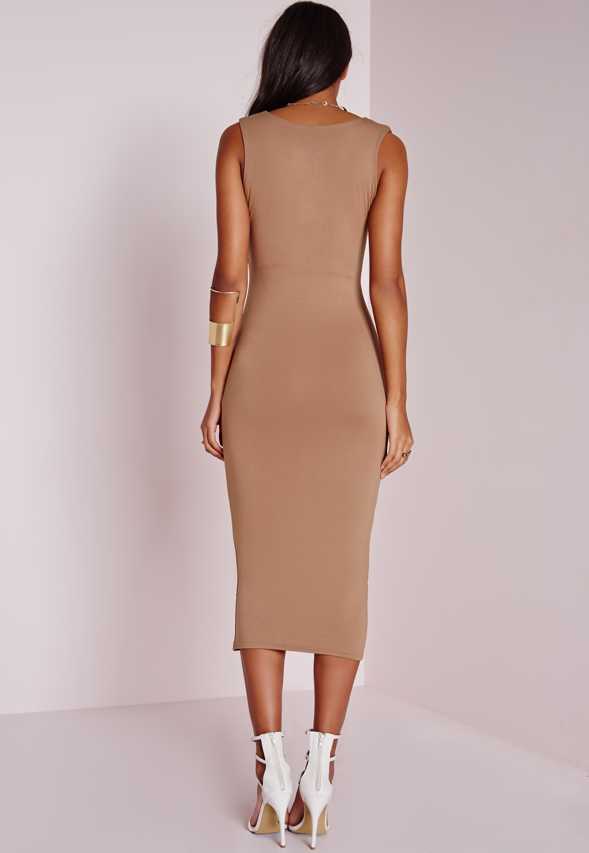 9970e50f46 Missguided Jersey Square Bust Midi Dress Camel in Brown - Lyst