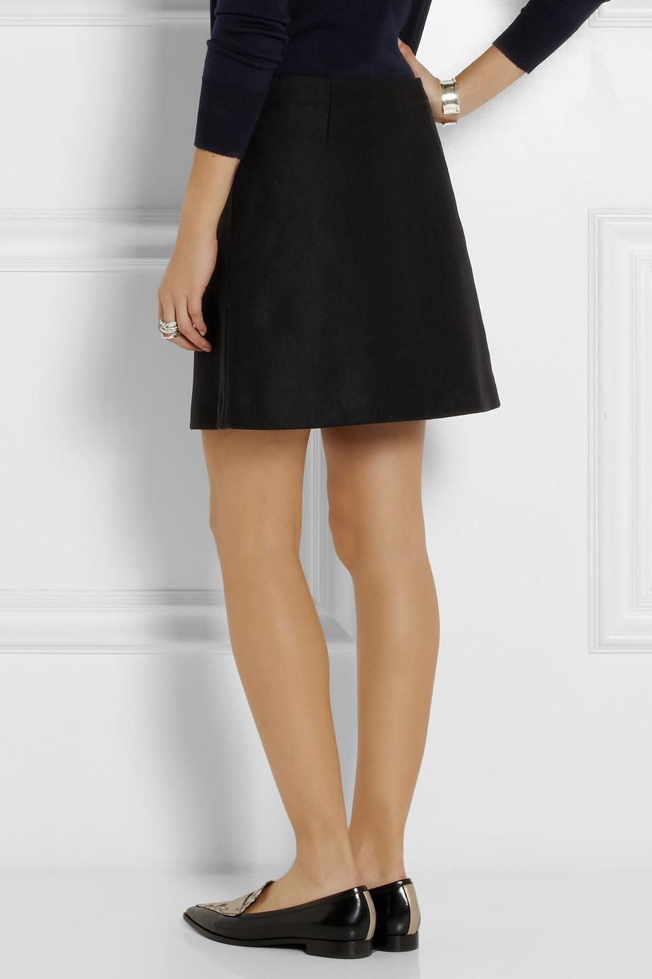 Marni Wool-Blend Felt Mini Skirt in Black | Lyst
