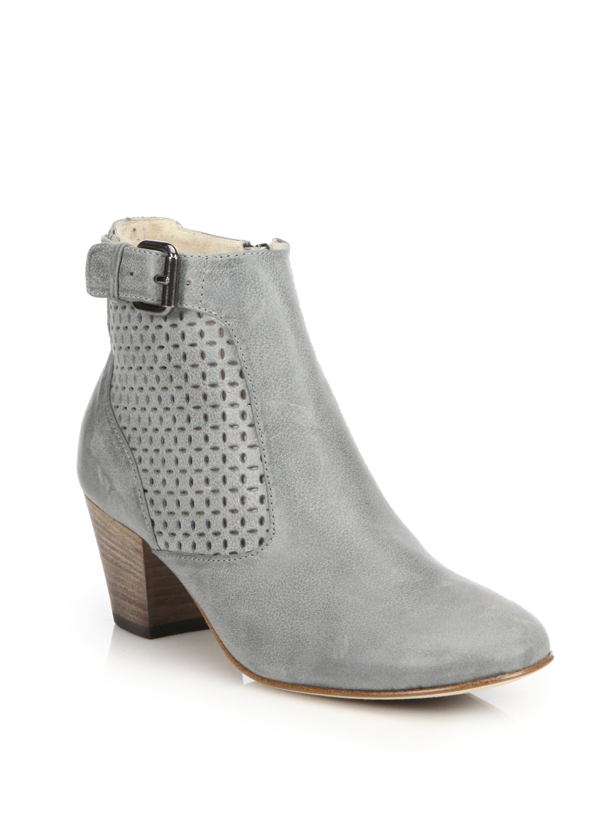 2d7f76298507 Lyst - Aquatalia Francie Perforated Leather Buckle Ankle .