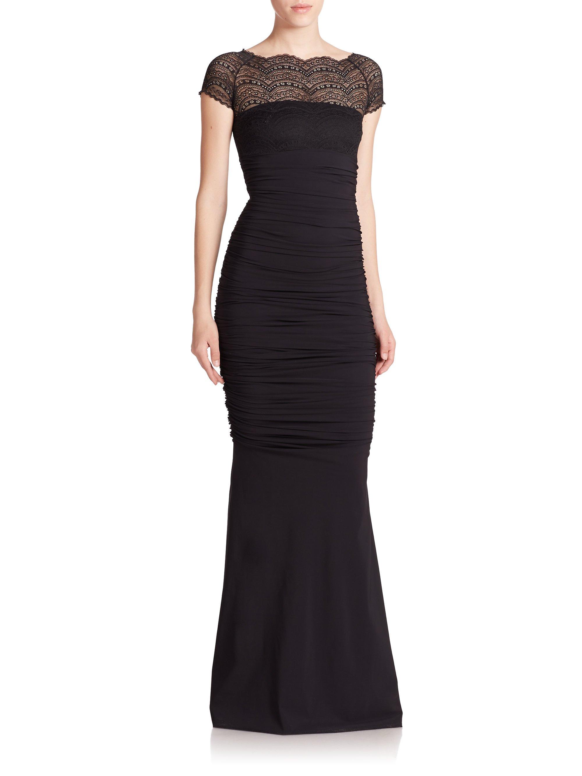aacb106cd16 La Petite Robe Di Chiara Boni Lace-top Illusion Gown in Black - Lyst
