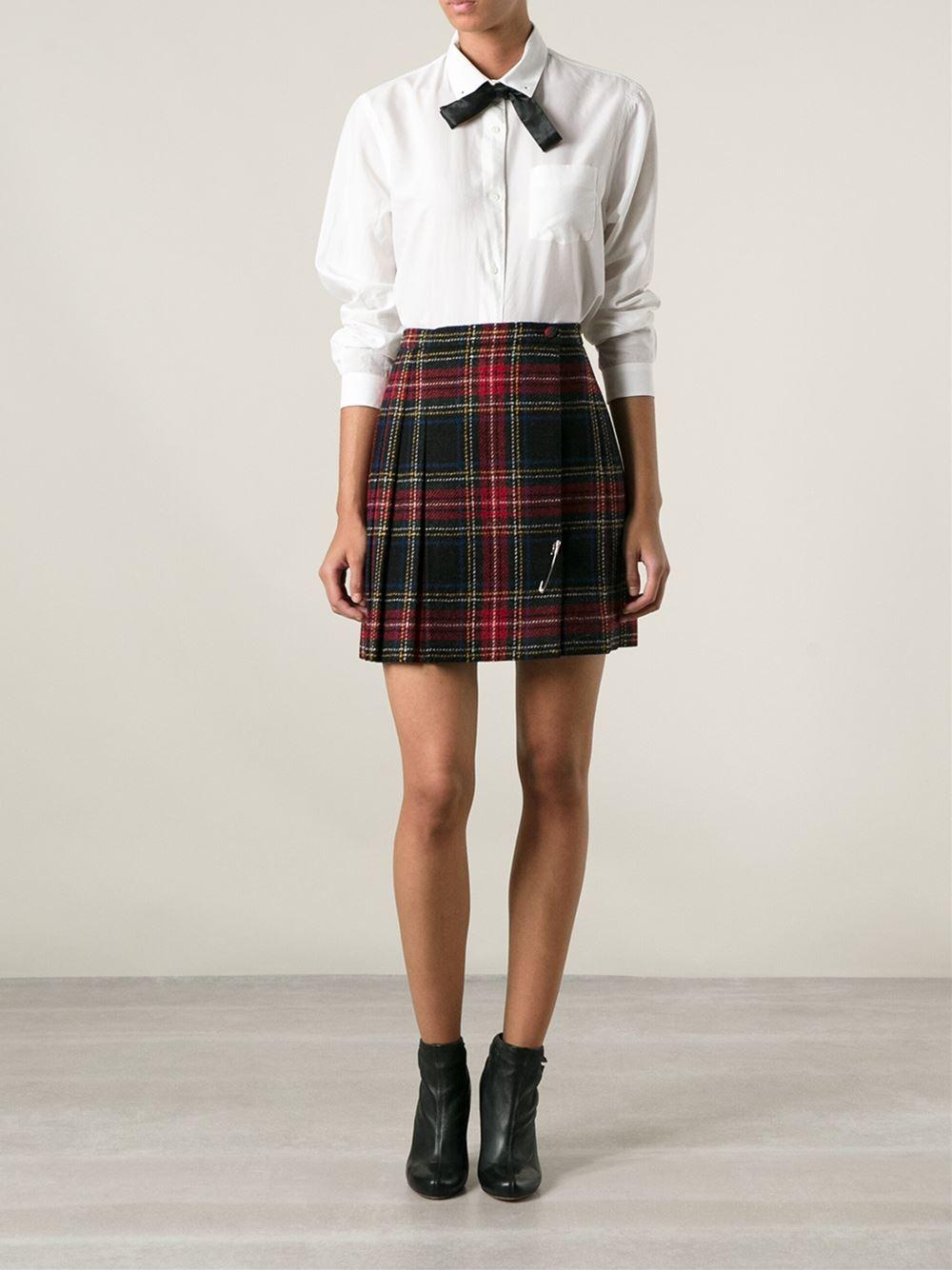 Saint Laurent Tartan Mini Skirt In Red Lyst