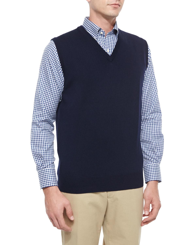 Peter millar Merino-Wool V-Neck Vest in Blue for Men | Lyst