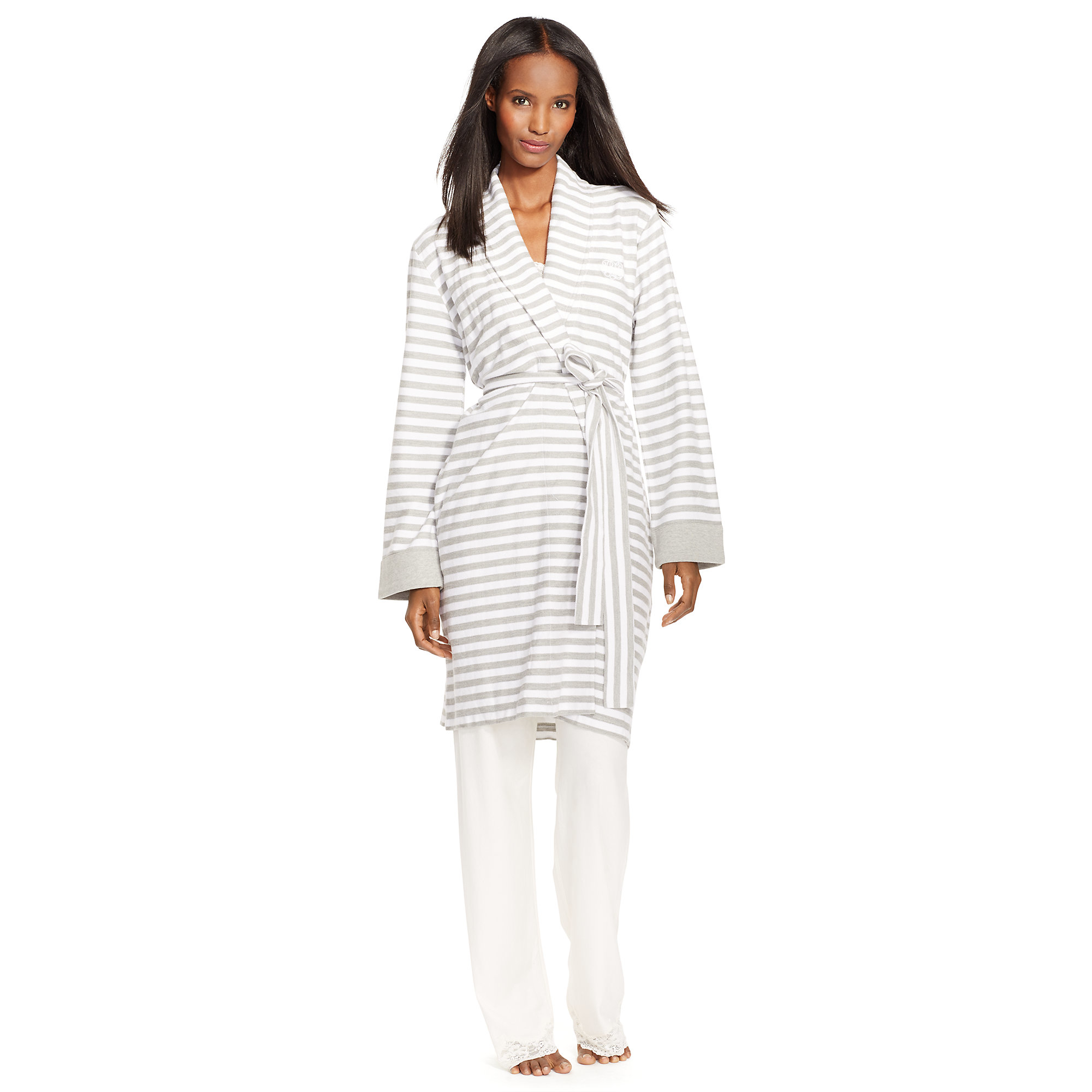 f1fd04b06a Lyst - Pink Pony Striped Cotton Terry Robe in White