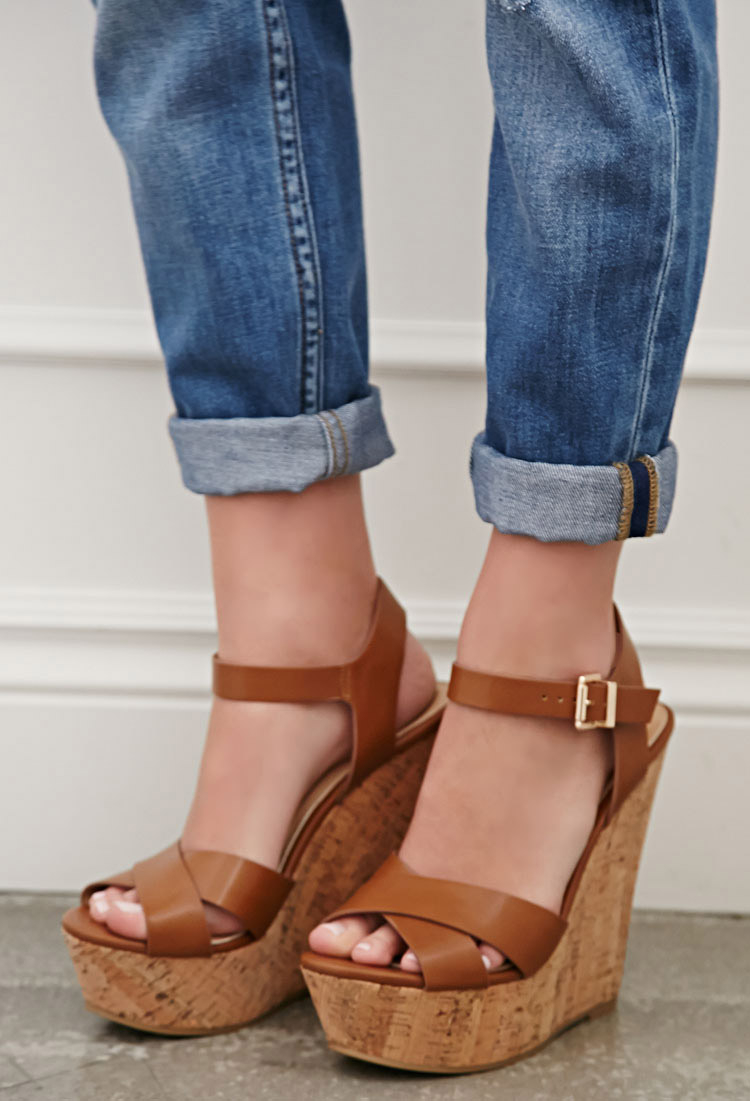 Lyst Forever 21 Strappy Cork Sole Platform Wedges In Brown