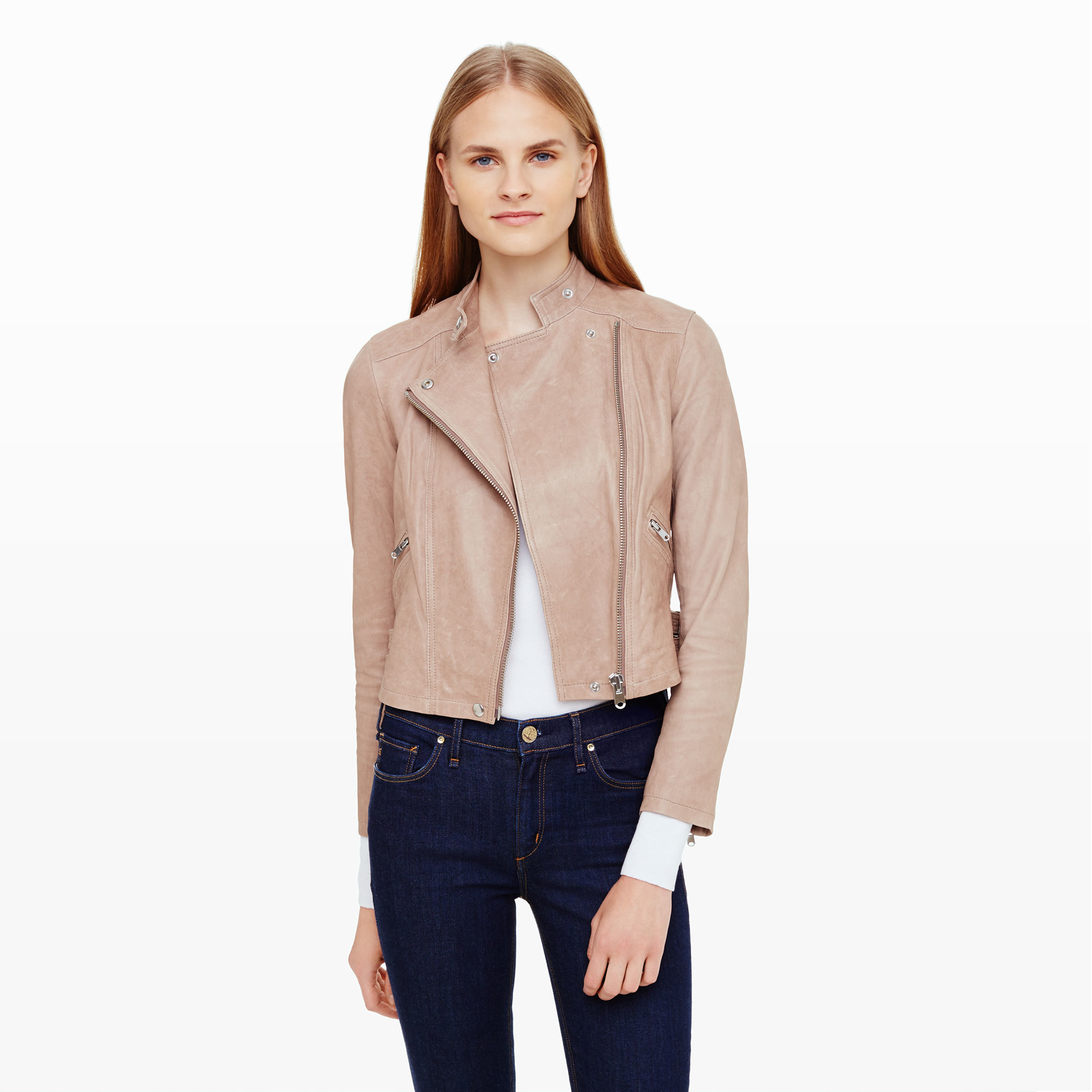 Lyst club monaco jayda leather jacket in natural jpg 2000x2000 Club monaco  moto jacket 6f46a4bb1
