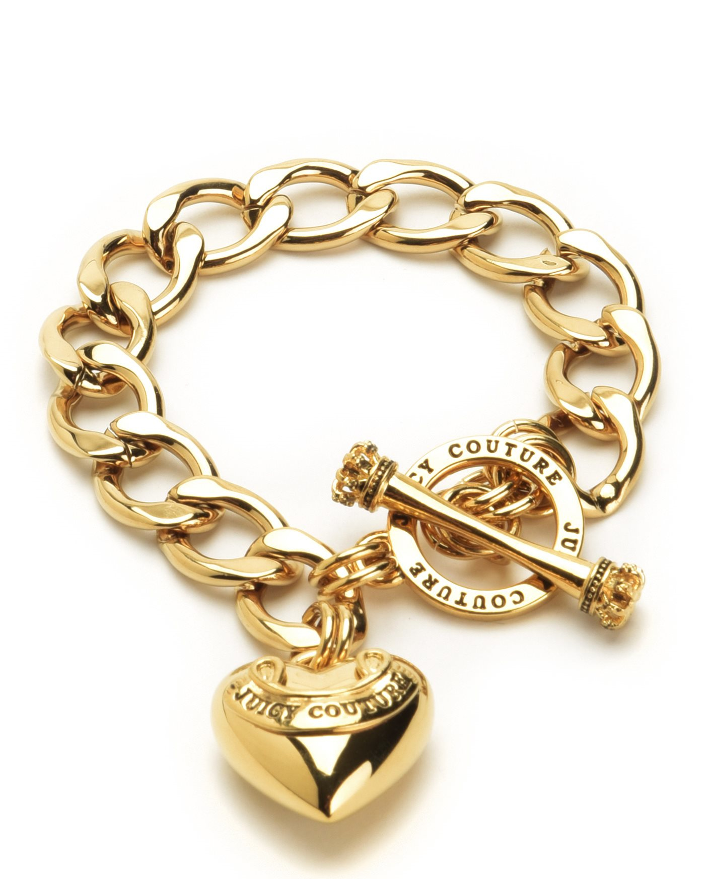 Juicy couture Banner Heart Starter Bracelet in Gold | Lyst