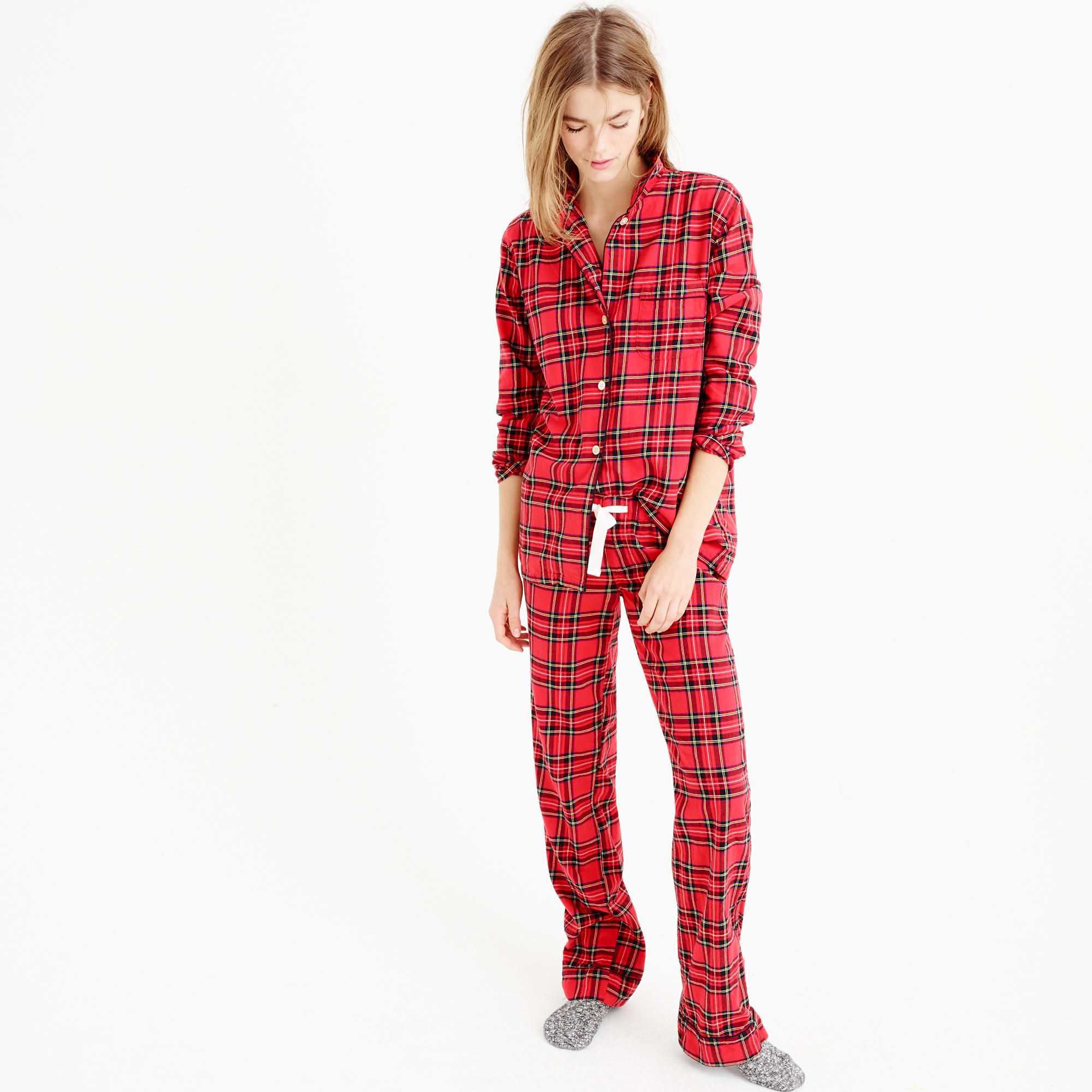 J.crew Classic Tartan Flannel Pajama Set in Red | Lyst
