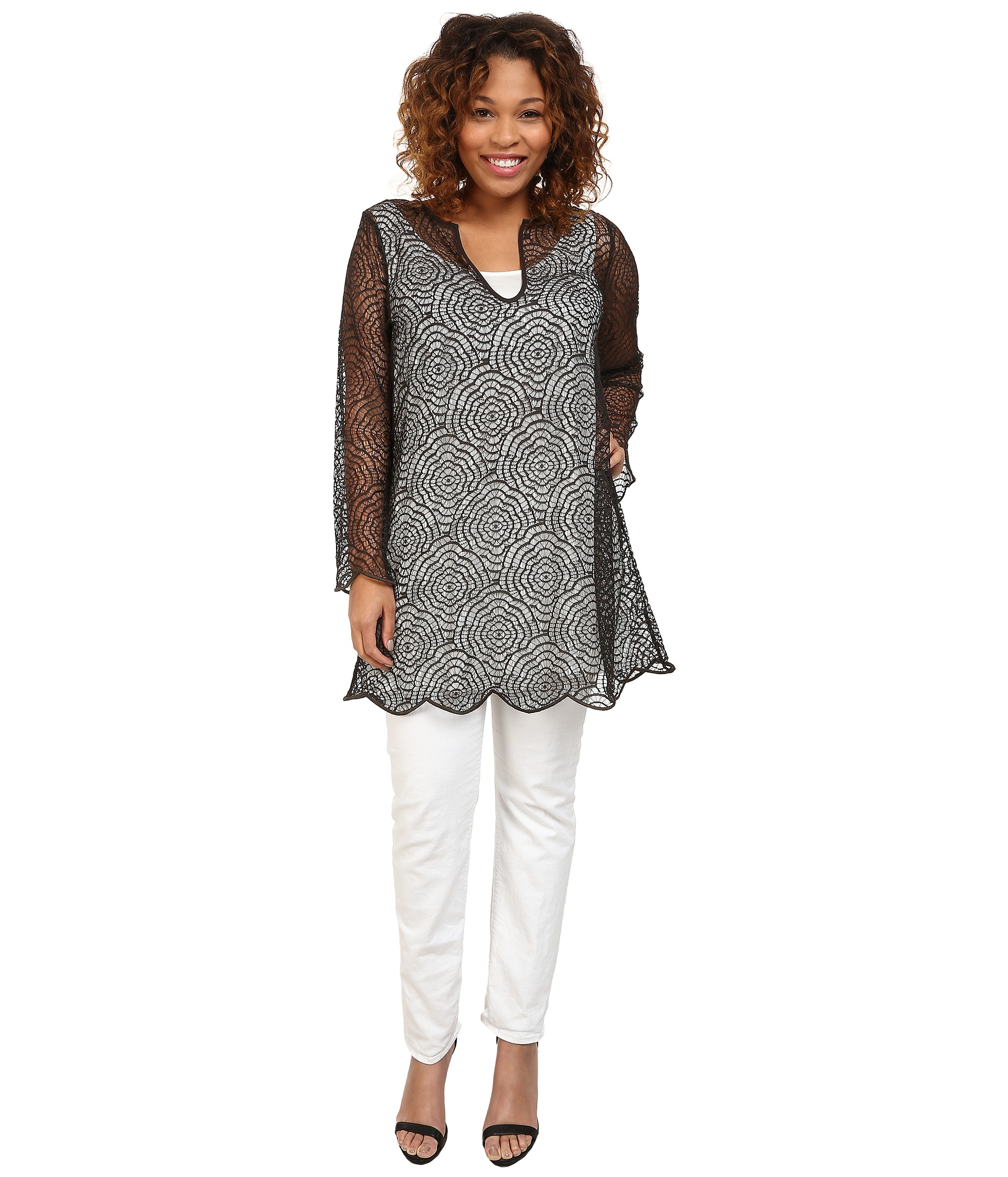 5c0300a50cc Lyst - Nic+Zoe Plus Size Camellia Lace Tunic in Black
