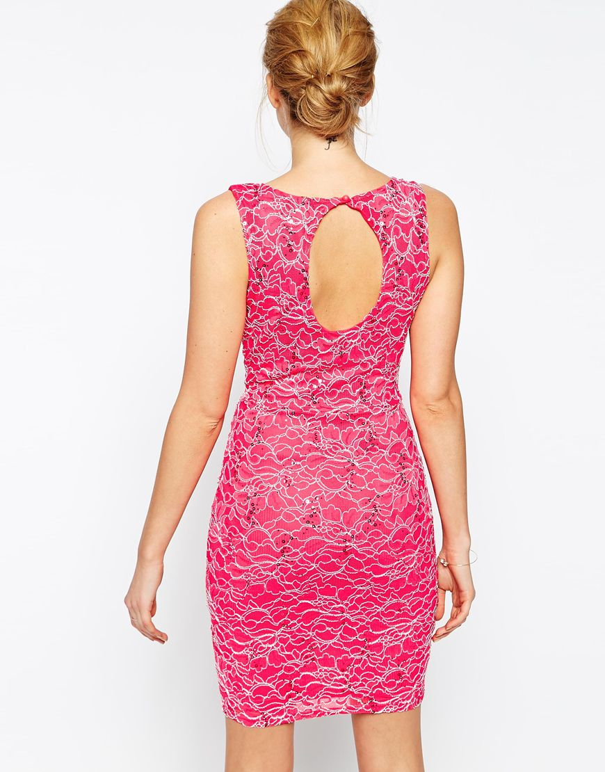 Lyst - Lipsy Deep Plunge Dress In Sequin Lace in Pink