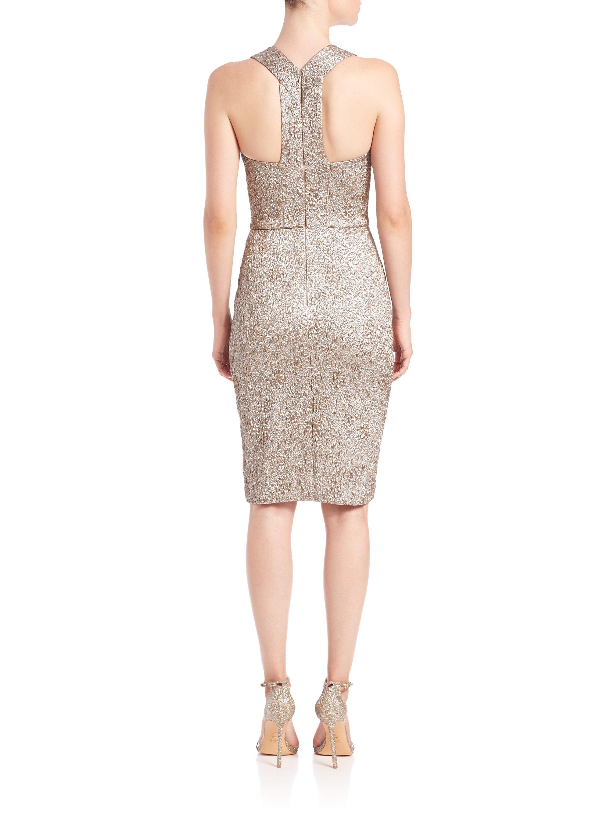 theia brocade beaded belt dress in metallic lyst