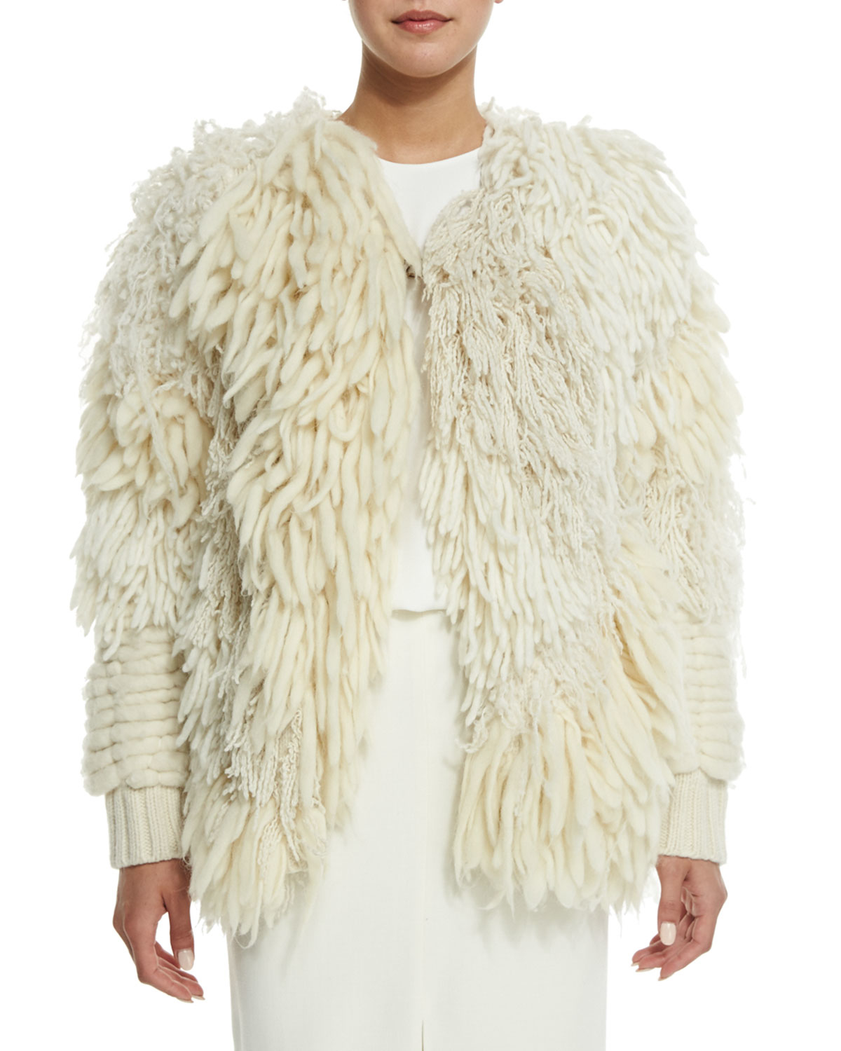Gallery - Adam Lippes Mix-textured Fringe Cardigan In White Lyst