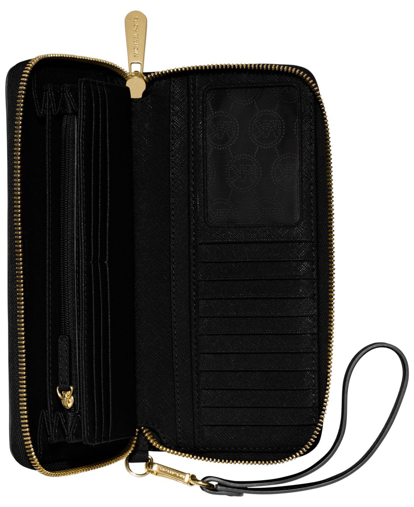 Michael Michael Kors Jet Set Travel Leather Continental Wallet: Michael Kors Jet Set Travel Continental Wallet In Black
