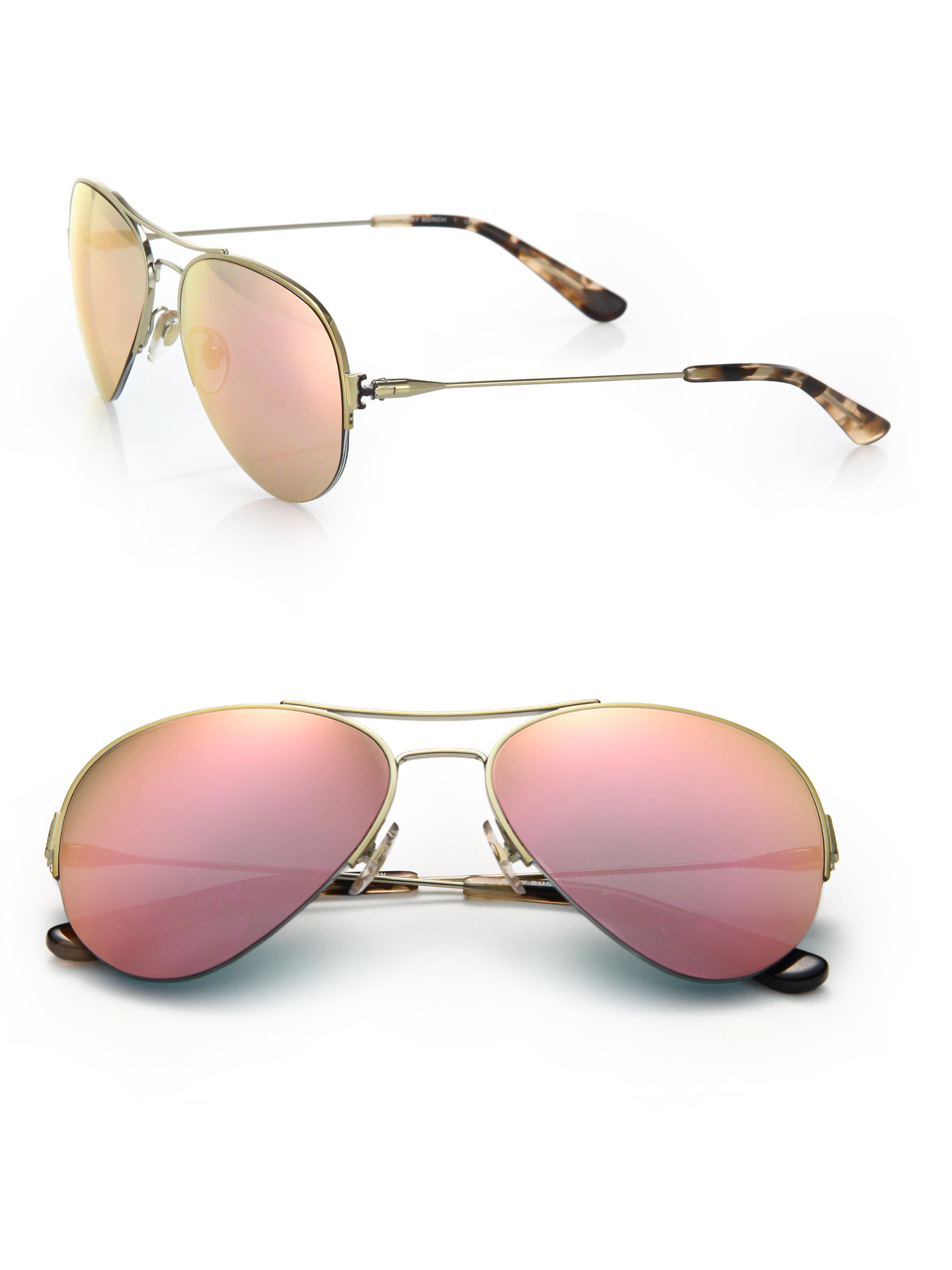 b7d4ad4c292 Lyst - Tory Burch Mirrored Lens Aviator Sunglasses in Metallic